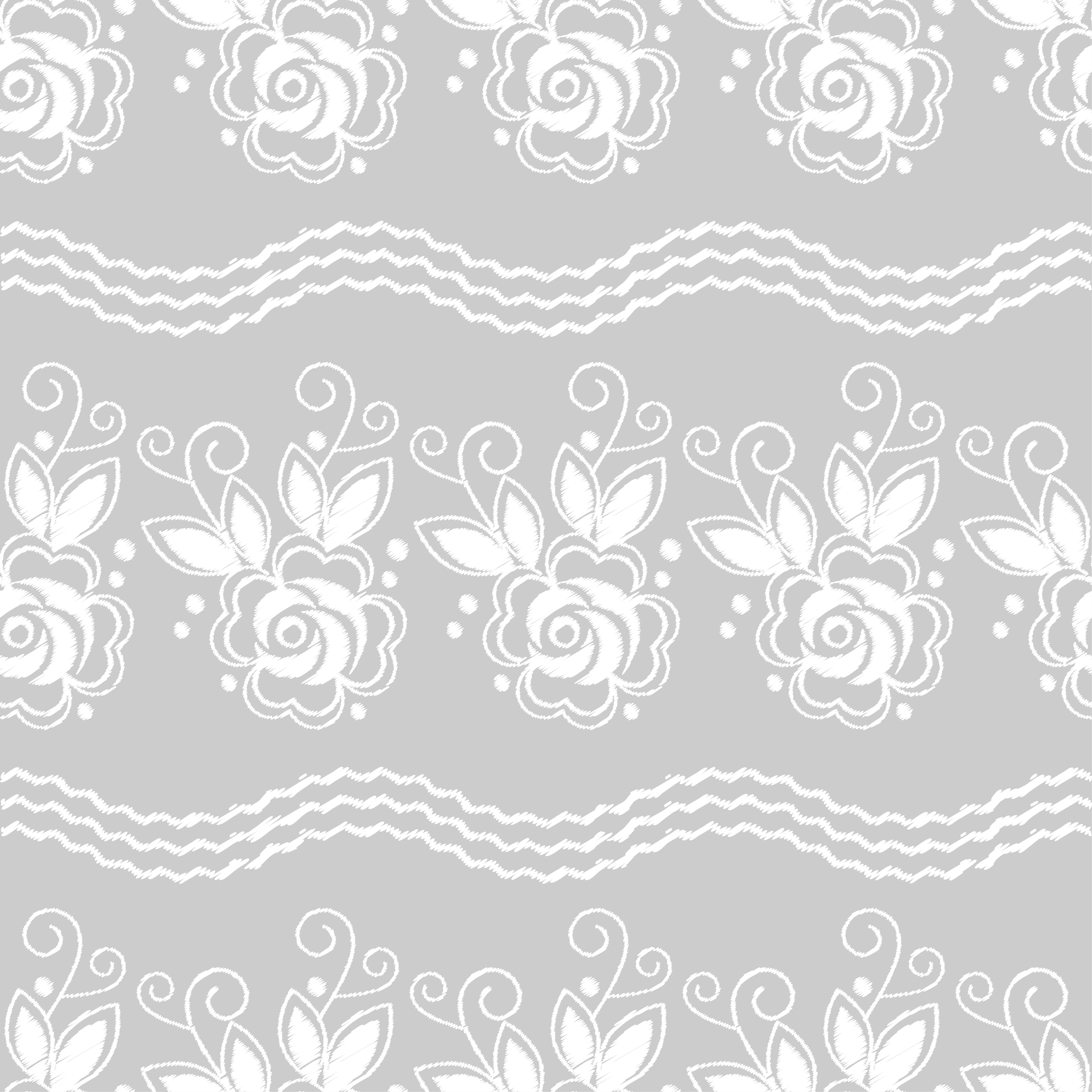 Seamless background. White embroidery on a grey background. Sewing. Textile rapport.  example image 1