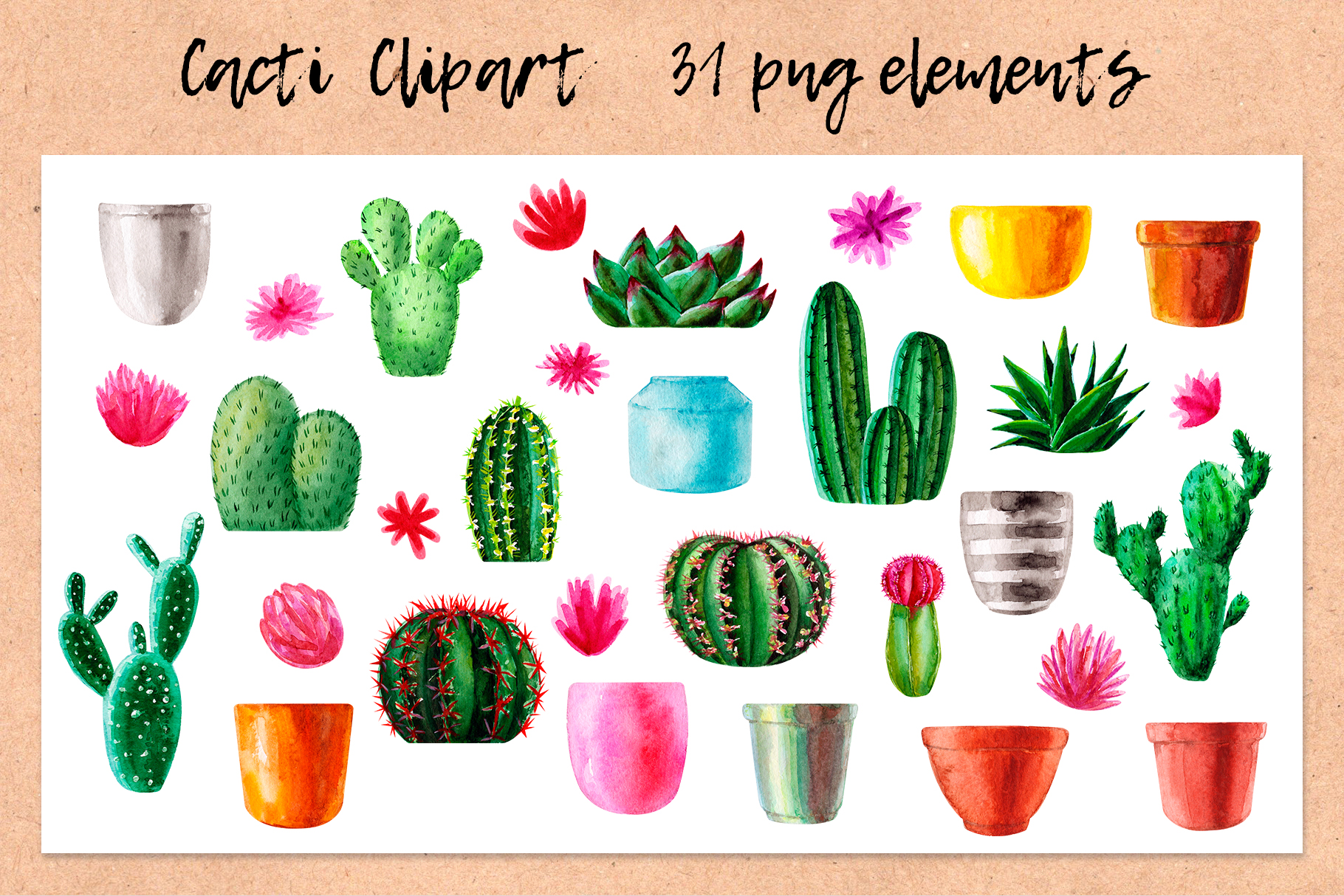 Watercolor Cactus. Cacti Patterns example image 2
