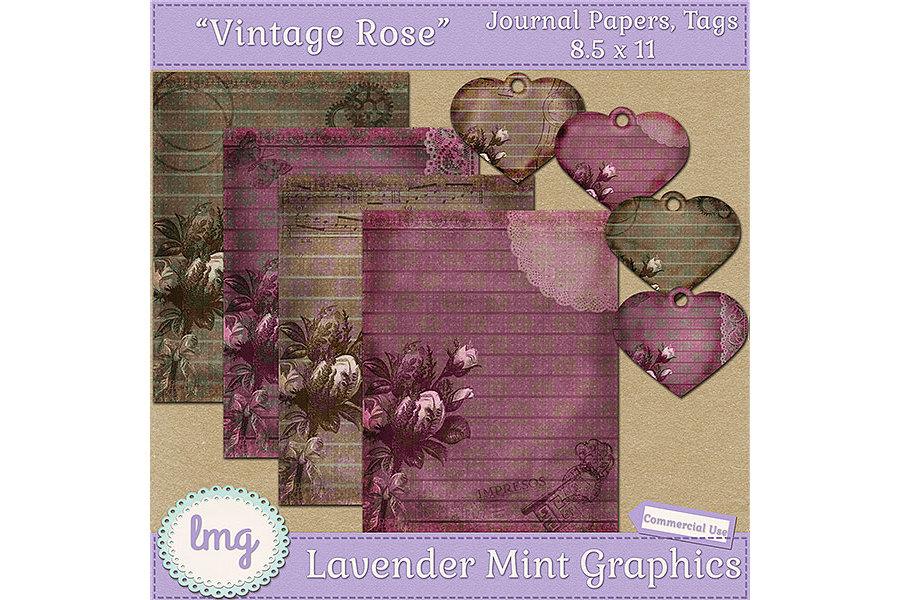 Vintage Rose Junk Journal Scrapbook Paper example image 1