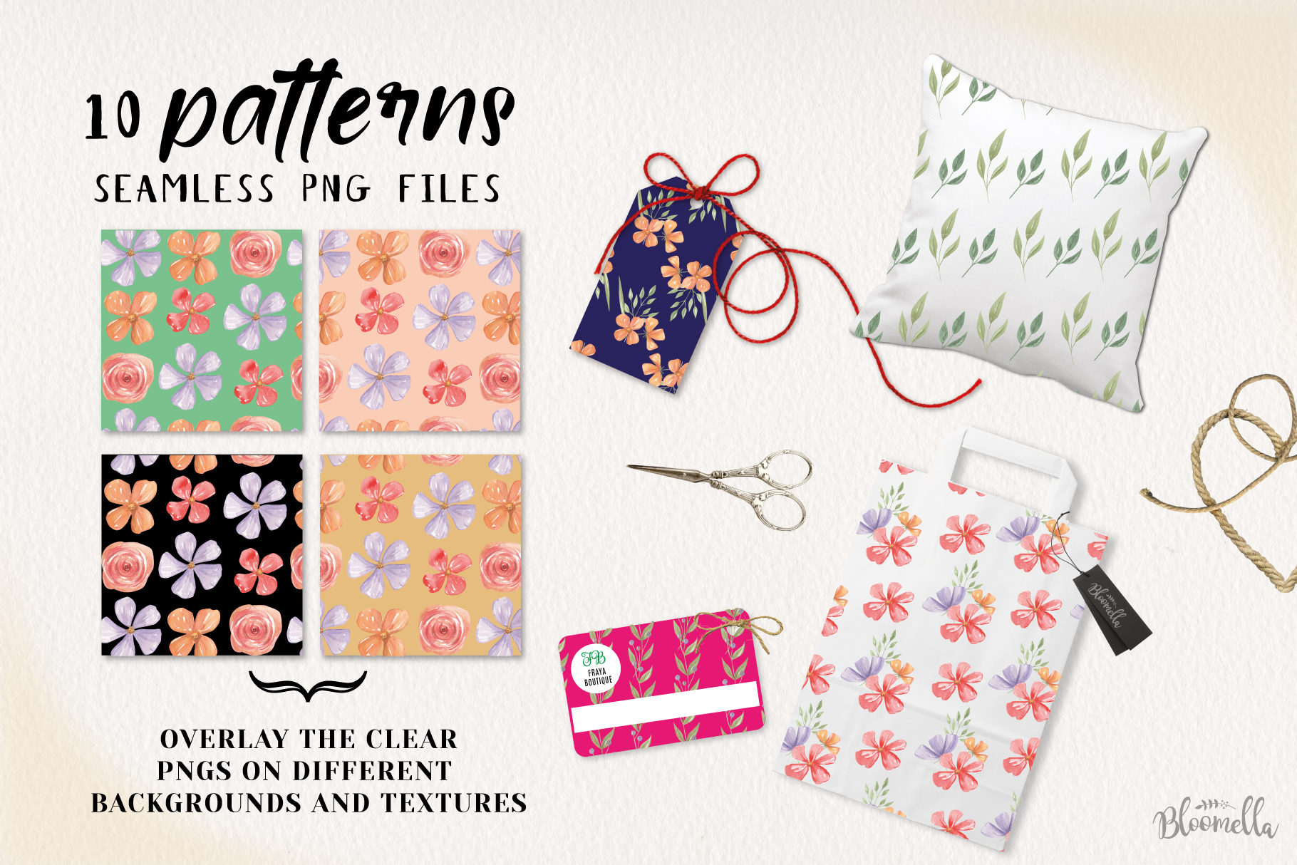 Floss Florals 10 Seamless Patterns Digital Papers Pretty example image 2