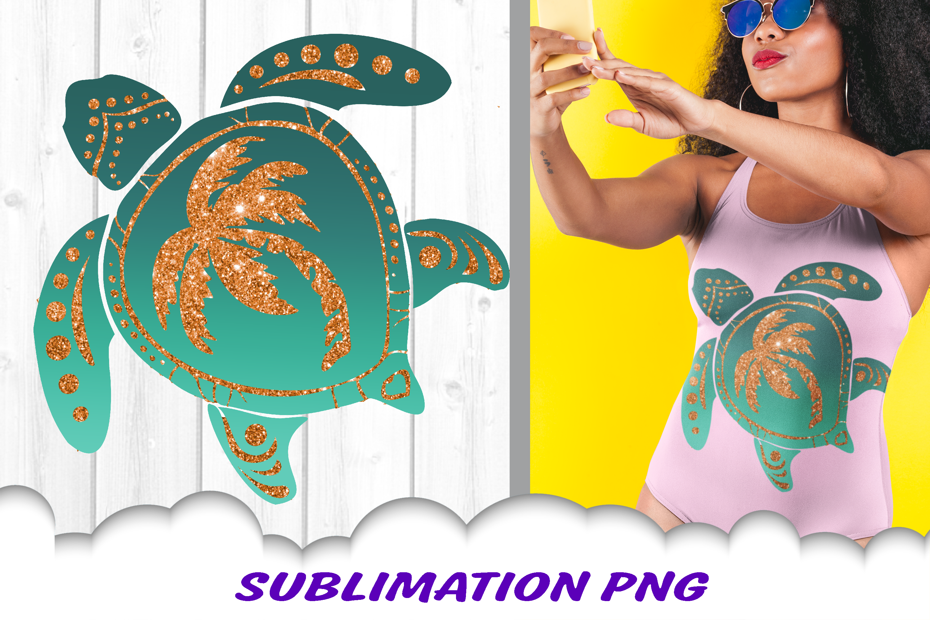 Turtle Glitter Palm Beach Sublimation PNG Design example image 1