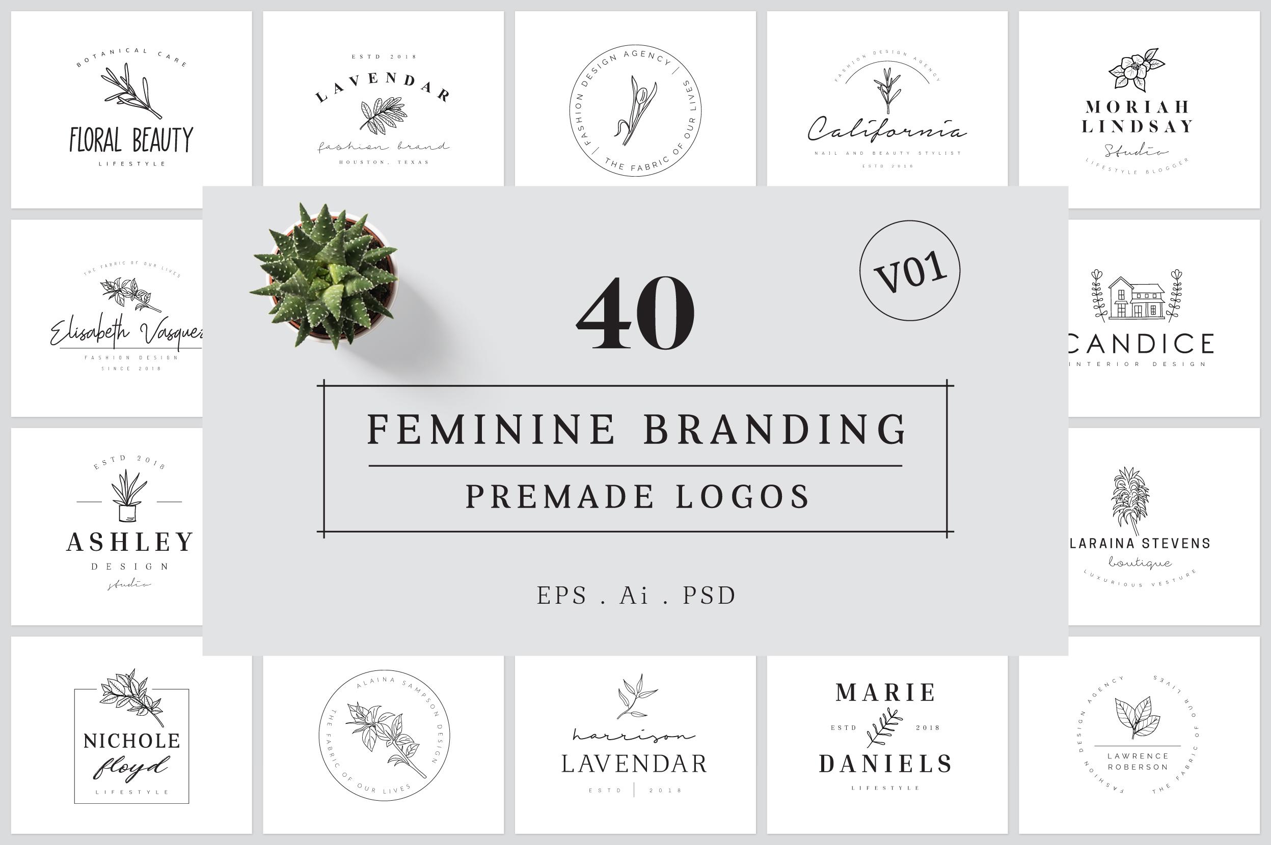 Feminine Branding Premade Logos V01 example image 1