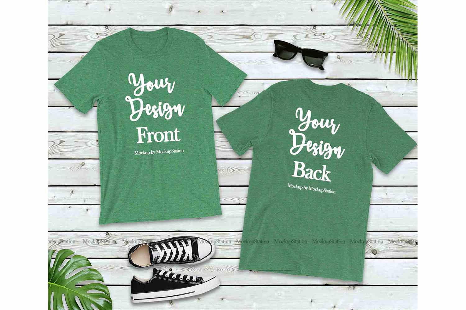 Front & Back Heather Grass Green Tshirt Mockup Bella Canvas example image 1