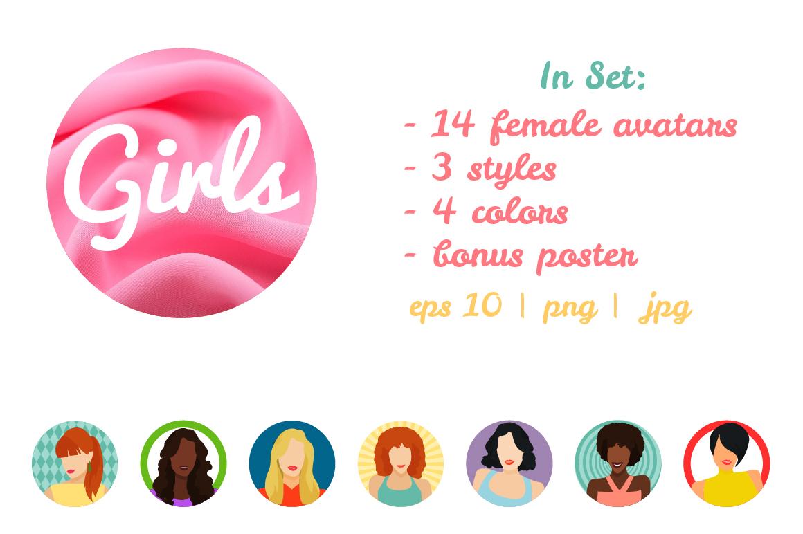 Vector Female avatars set 52 icons example image 4