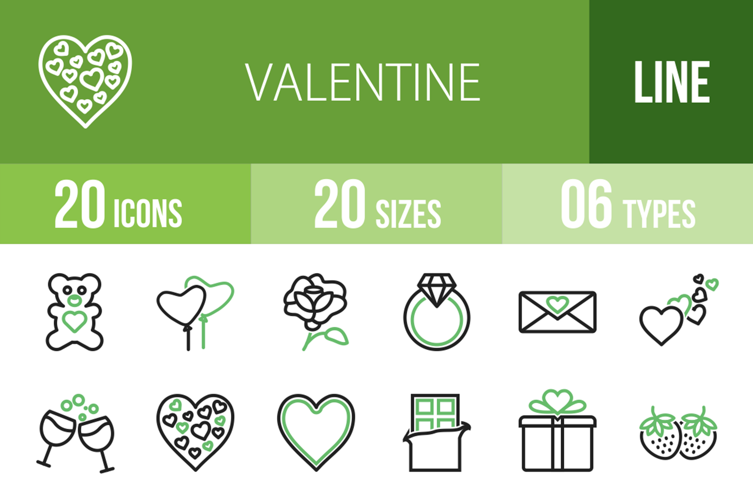 20 Valentine Line Green & Black Icons example image 1