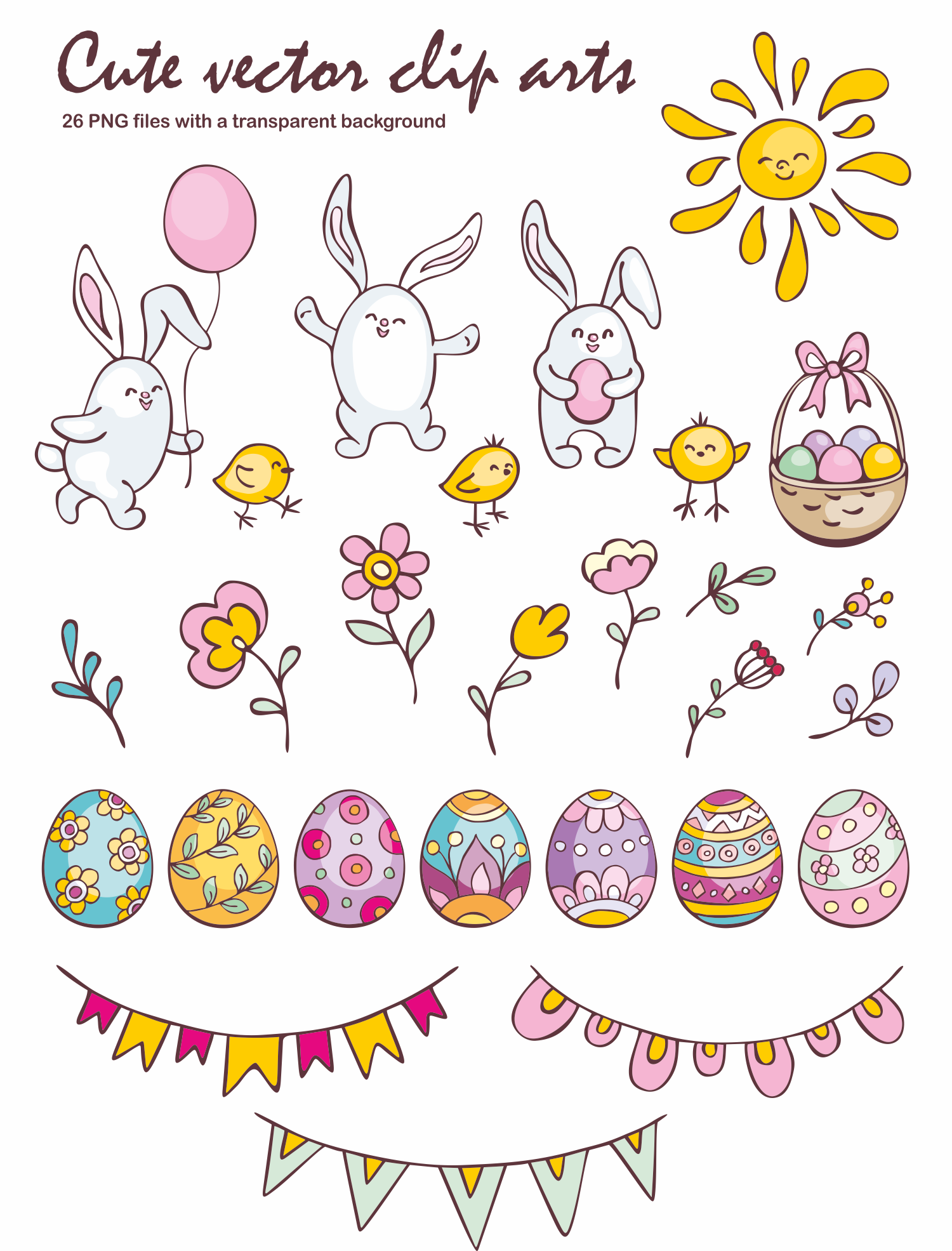 Easter doodles set.  Vector clip arts and seamless patterns. example image 2