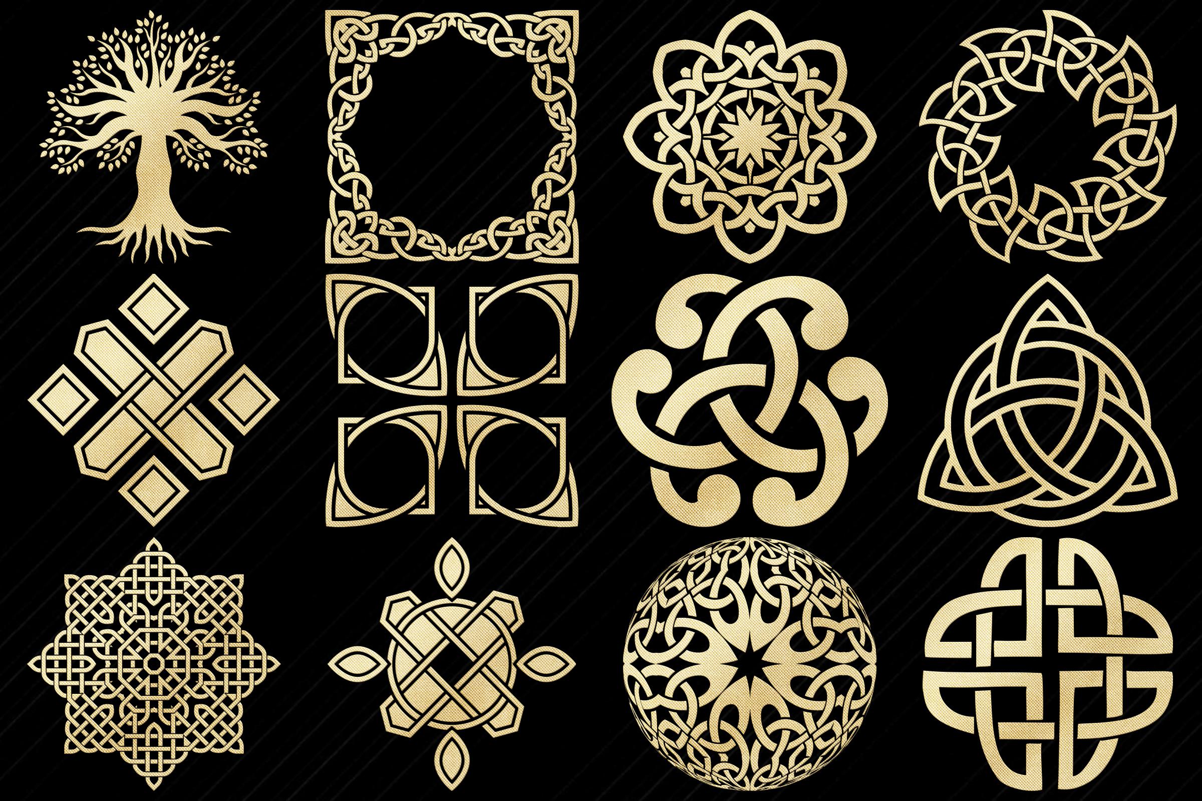 Gold Foil Celtic Symbols, Knots, Crosses Clip Art example image 4
