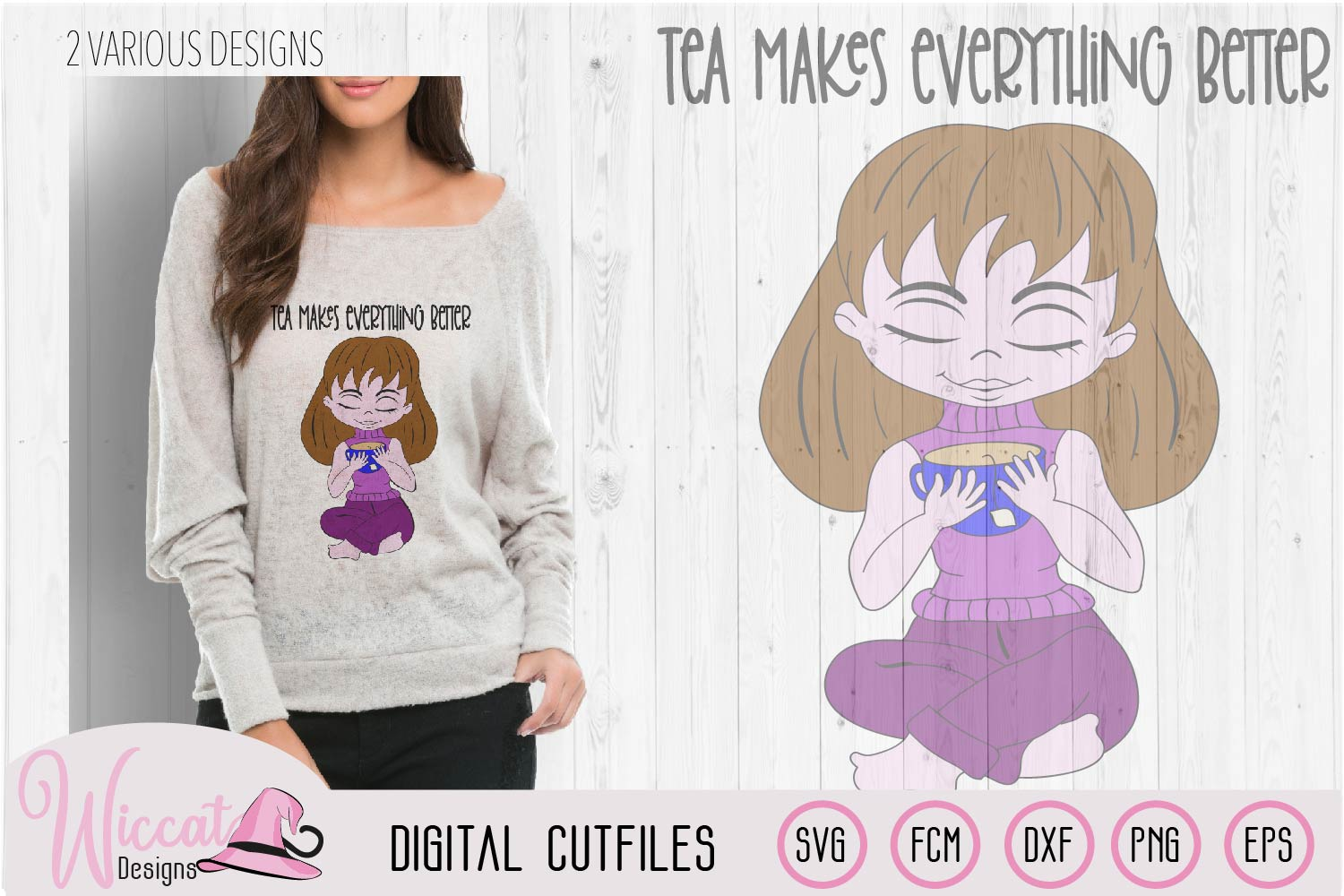 Tea girl cartoon, tea makes everything better quote example image 2