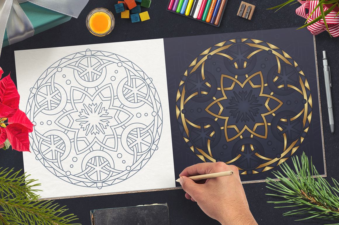 100 Christmas Mandala Ornaments example image 6