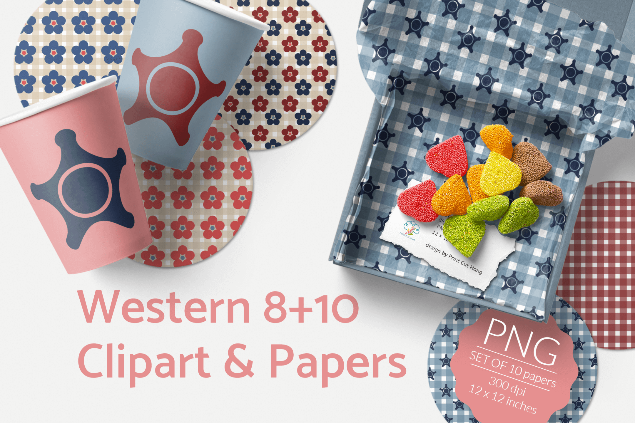 Western Clipart & Gingham Scrapbooking Papers PNG files example image 3