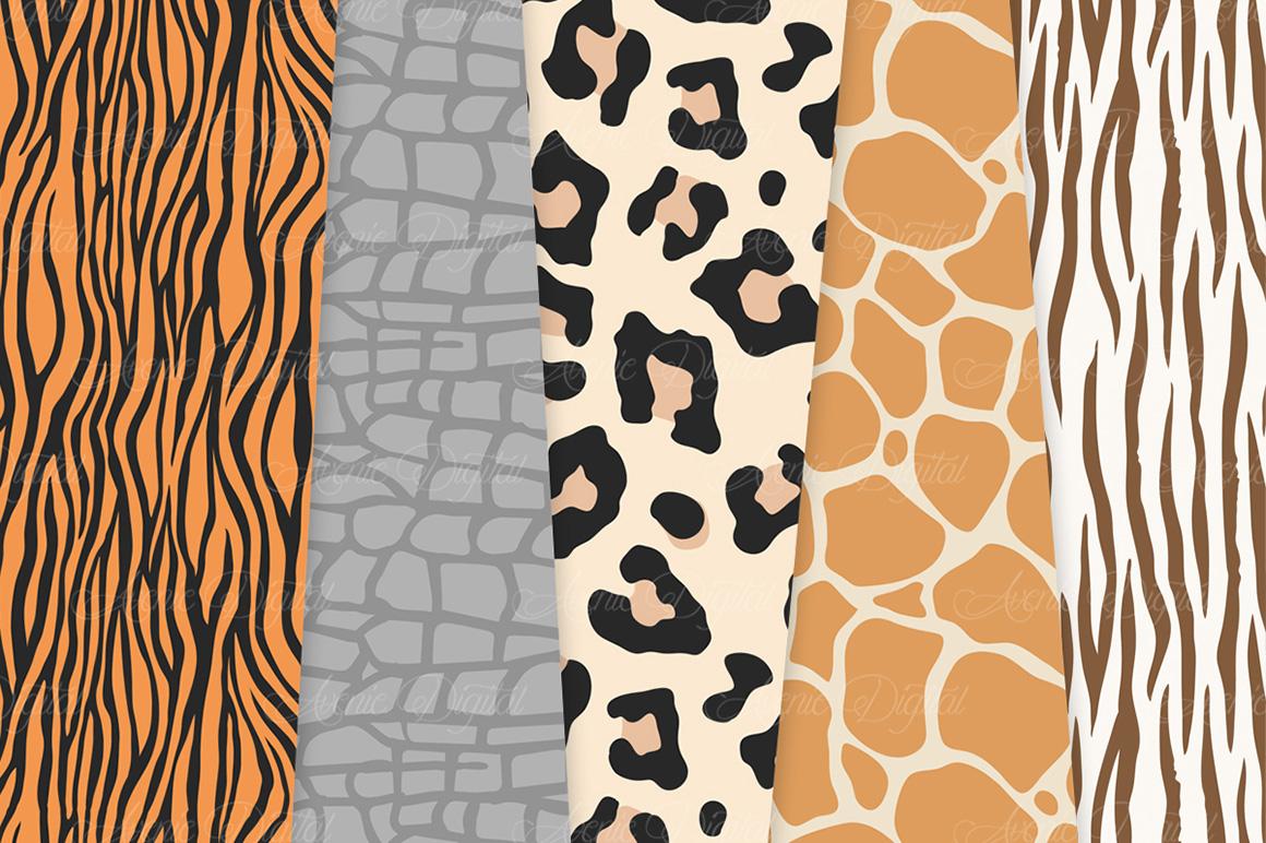 Animal Print Vector Patterns -  Safari Seamless Digital Papers example image 4