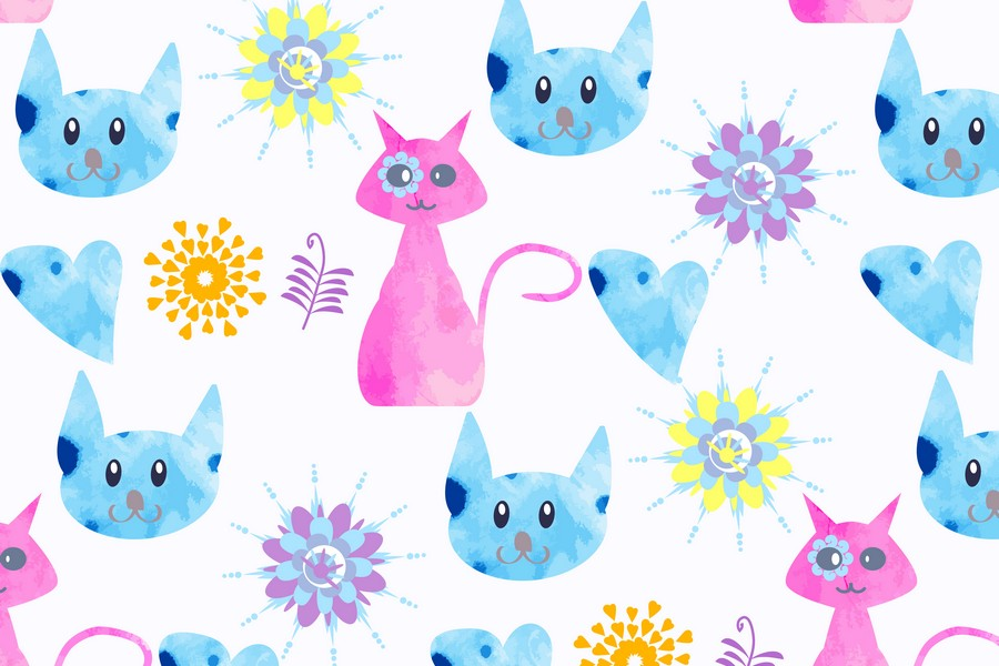 2 Watercolor cats pattern seamless, vector images example image 4