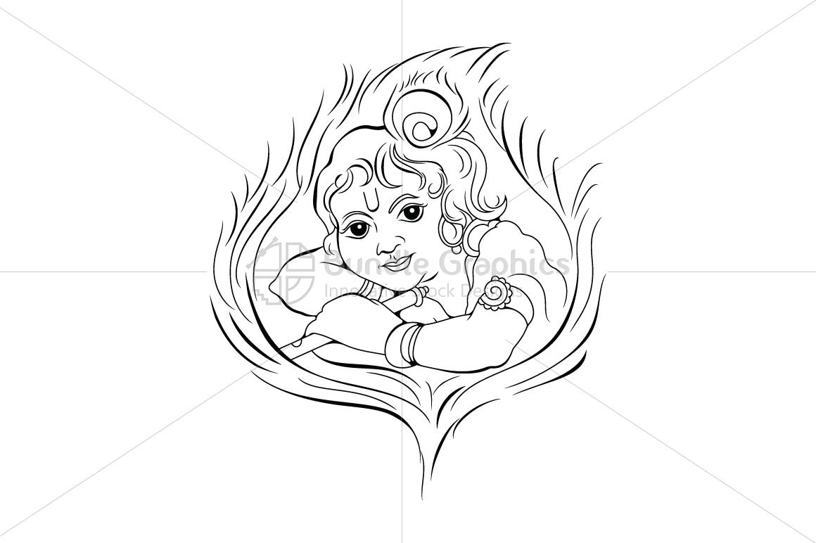 Baal Krishna - Artistic Illustration example image 1