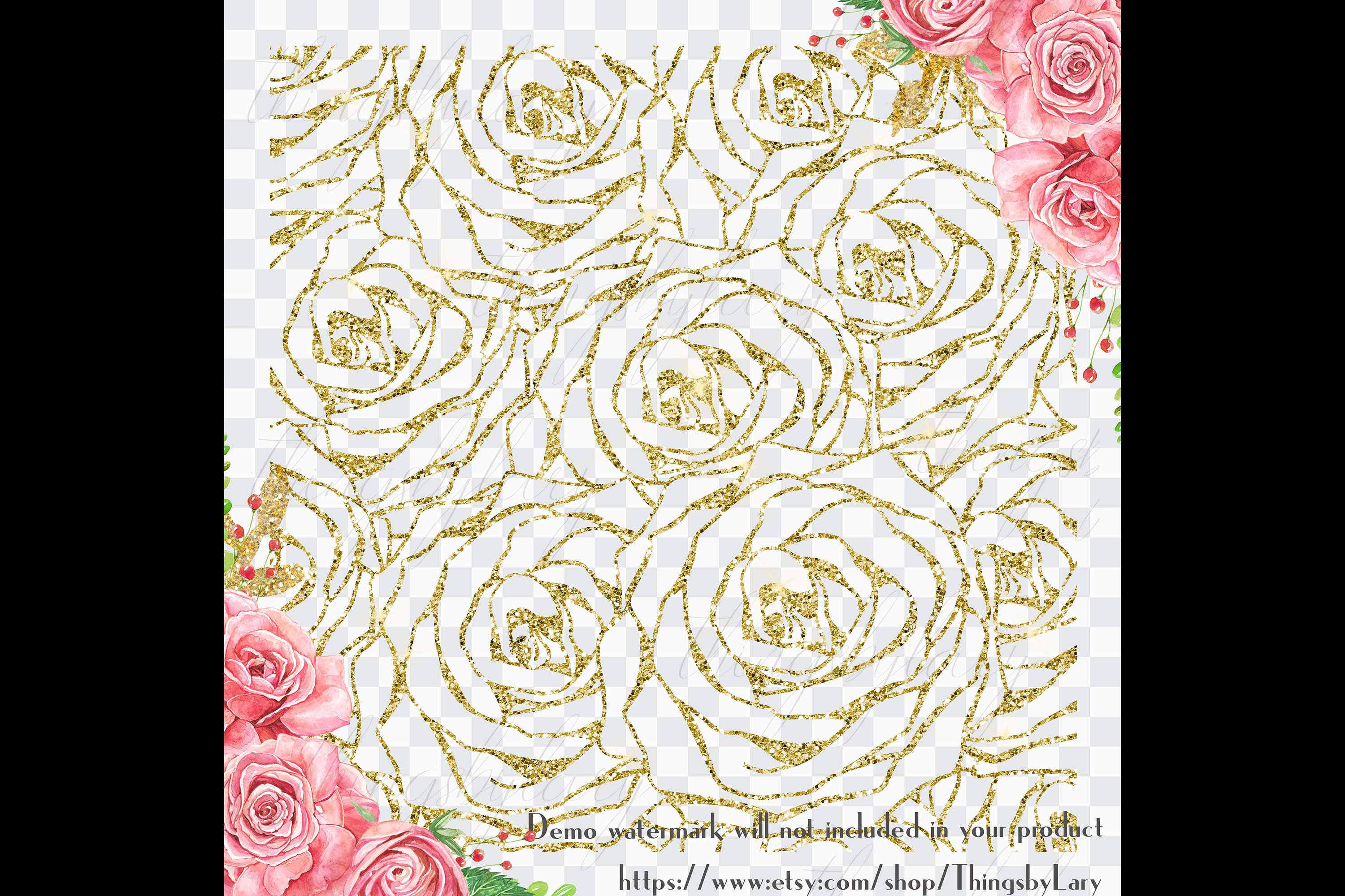 16 Seamless Glitter Rose Net Overlay Digital Images PNG example image 3
