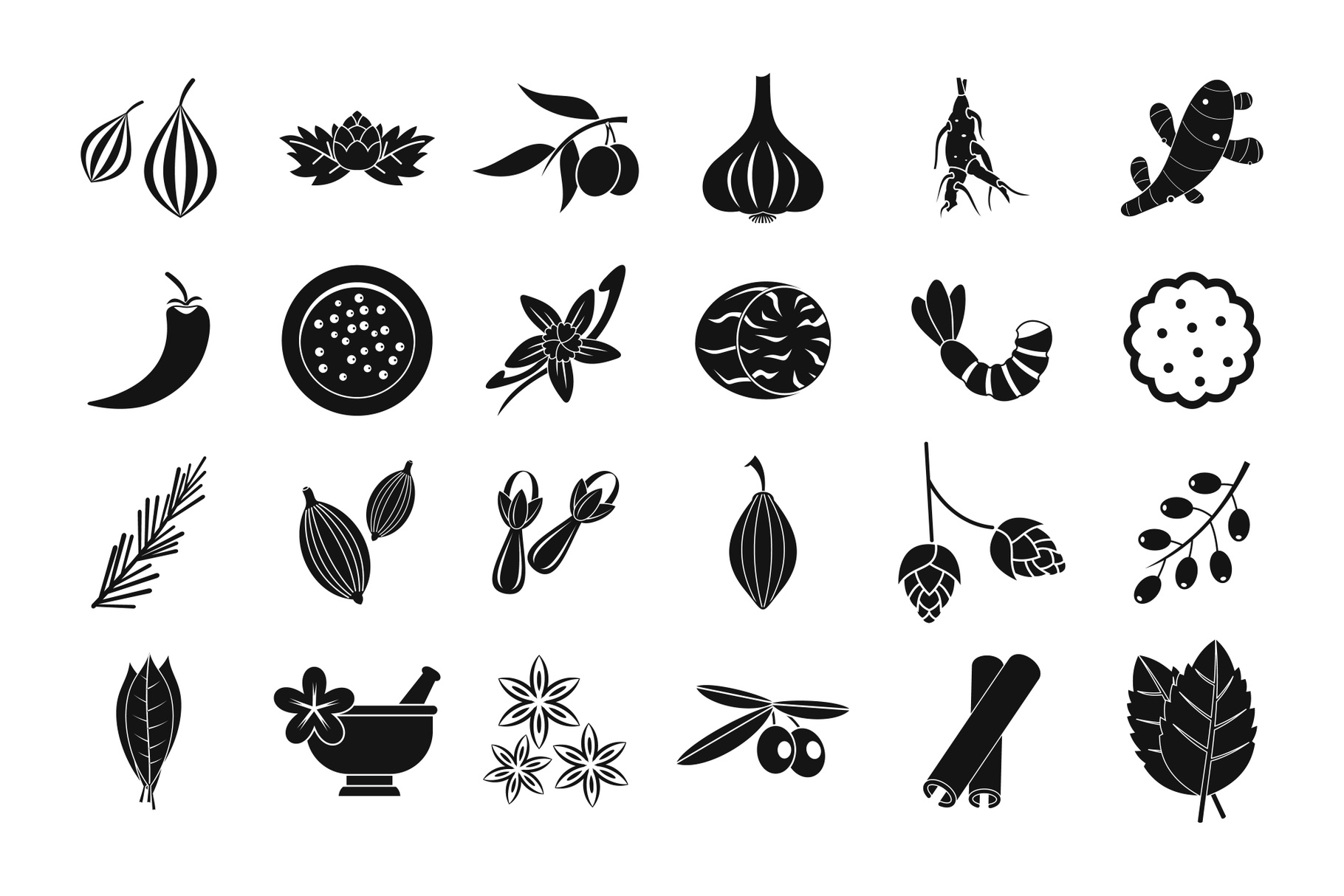 Spices icon set, simple style example image 1