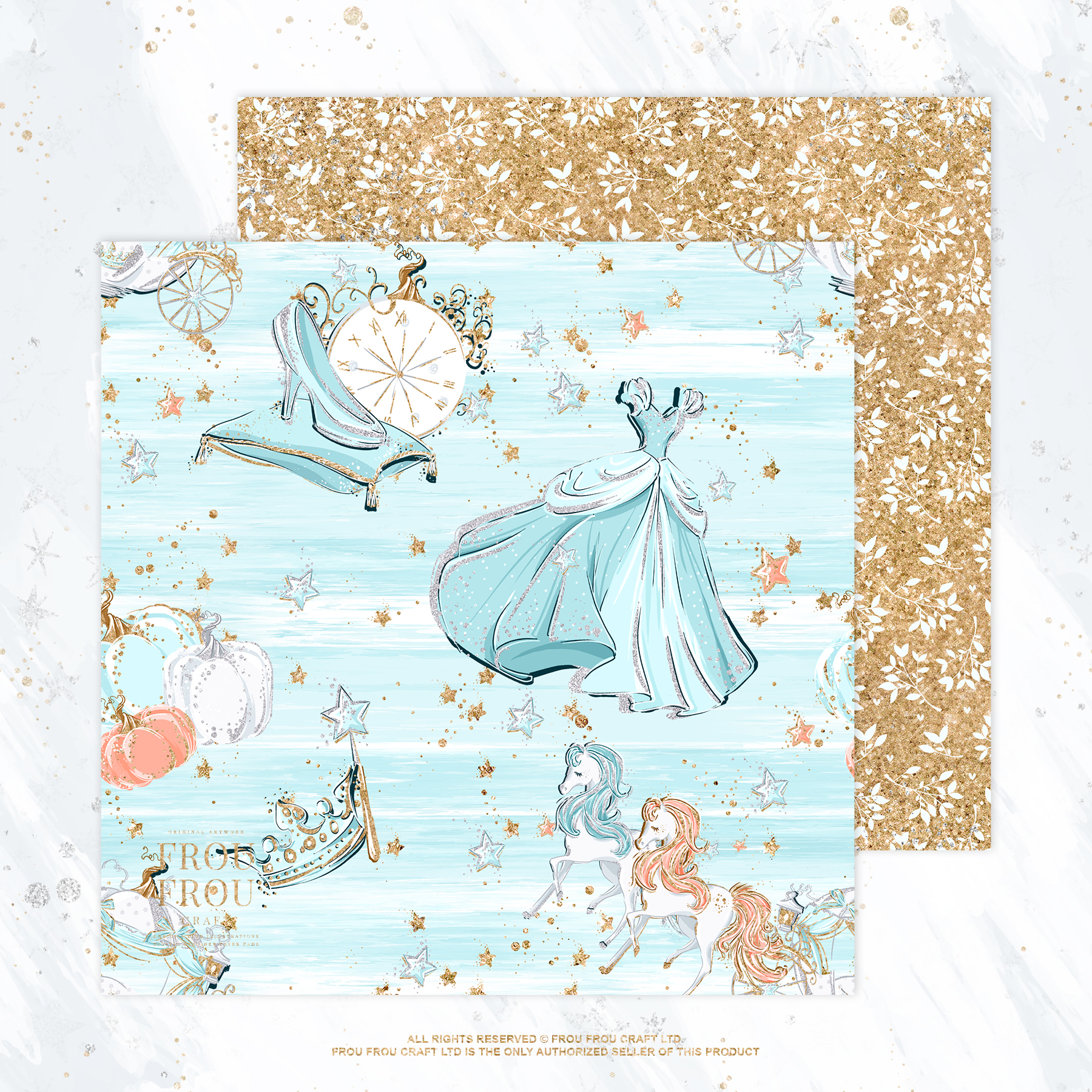 Princess Fairy Tale Gold Glitter Paper Pack example image 5