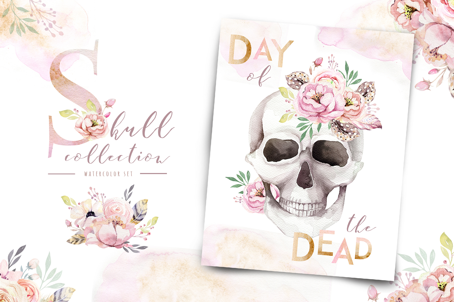 Day of The Dead. Watercolor set. example image 4