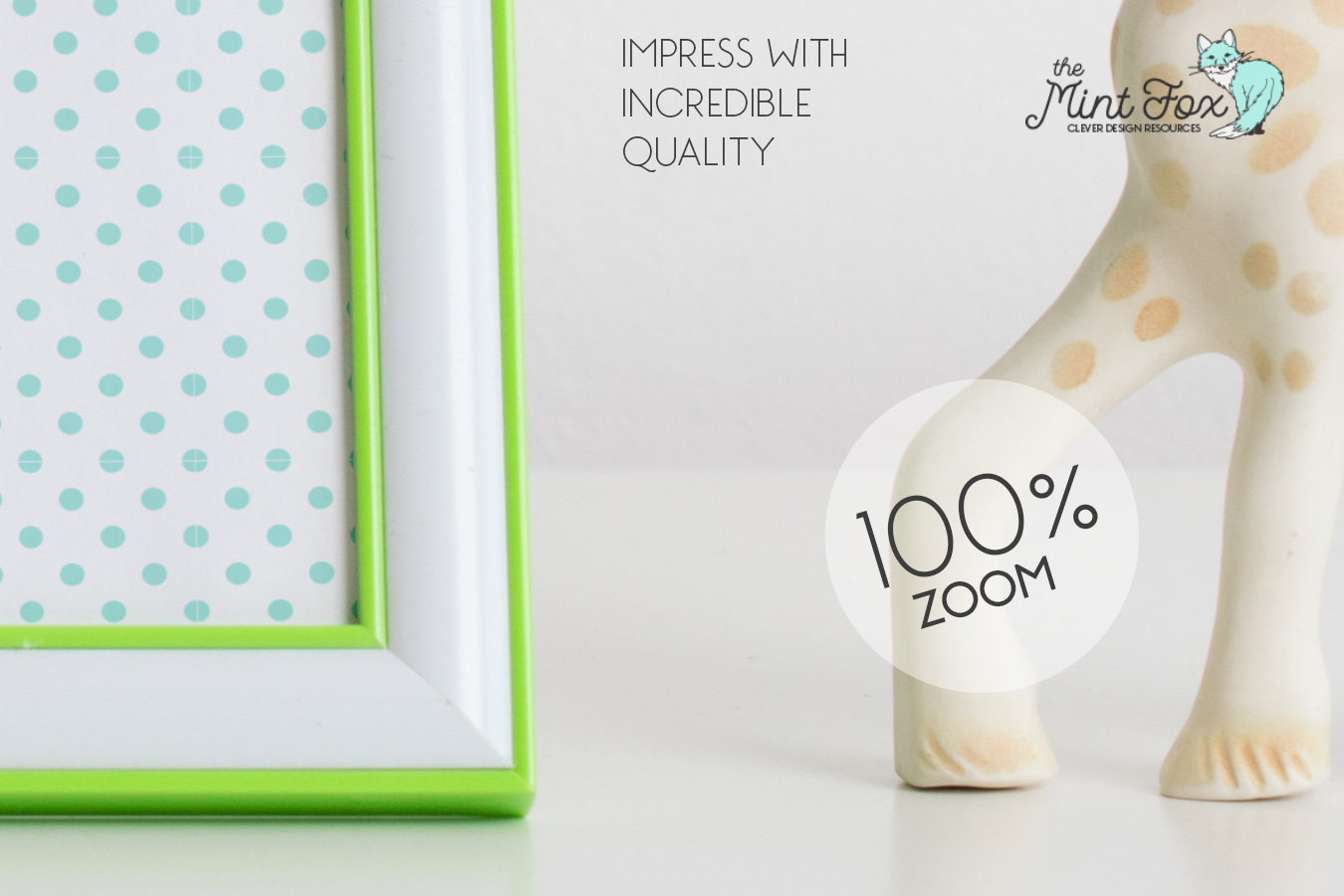 Children Photo Frame Mockup with Giraffe example image 2