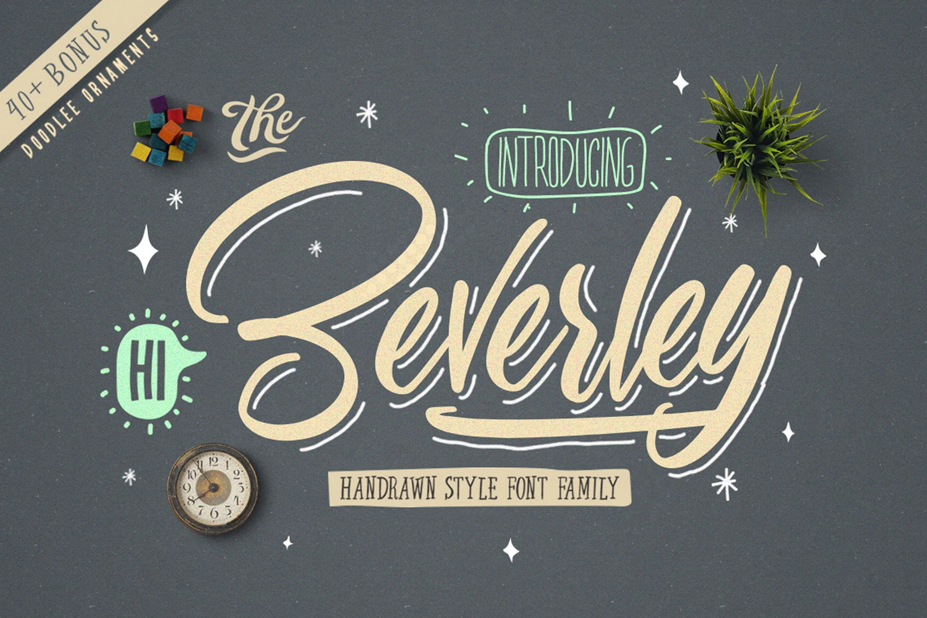 Beverley 4 Font Family Extra Bonus 40 doodle ornaments example image 8