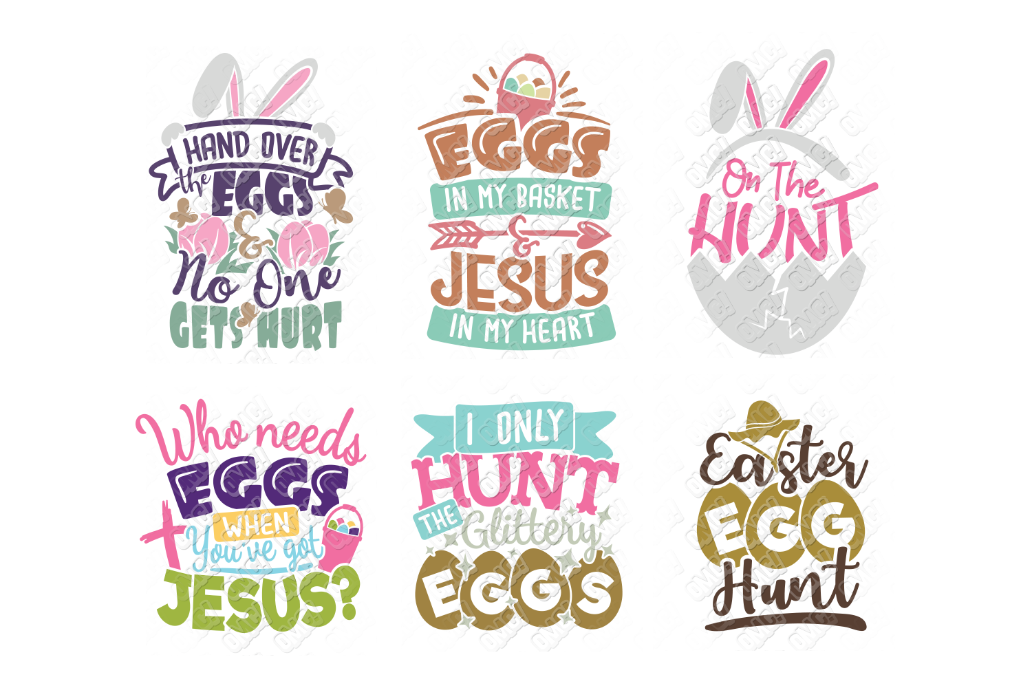 Easter Egg SVG Monogram Quotes in SVG, DXF, PNG, EPS, JPEG example image 6