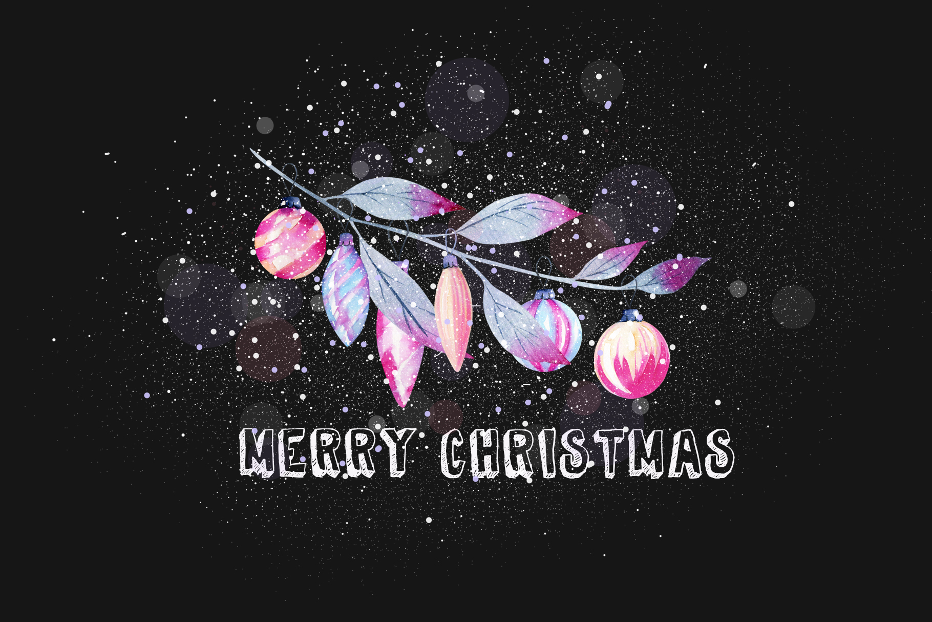 Let it snow. Watercolor Christmas clipart. example image 17