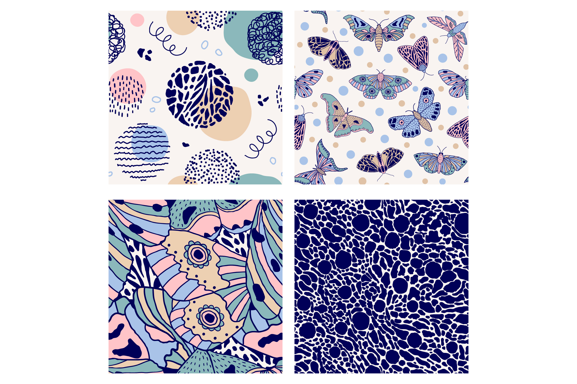 Moths and butterflies. Vector patterns. example image 10