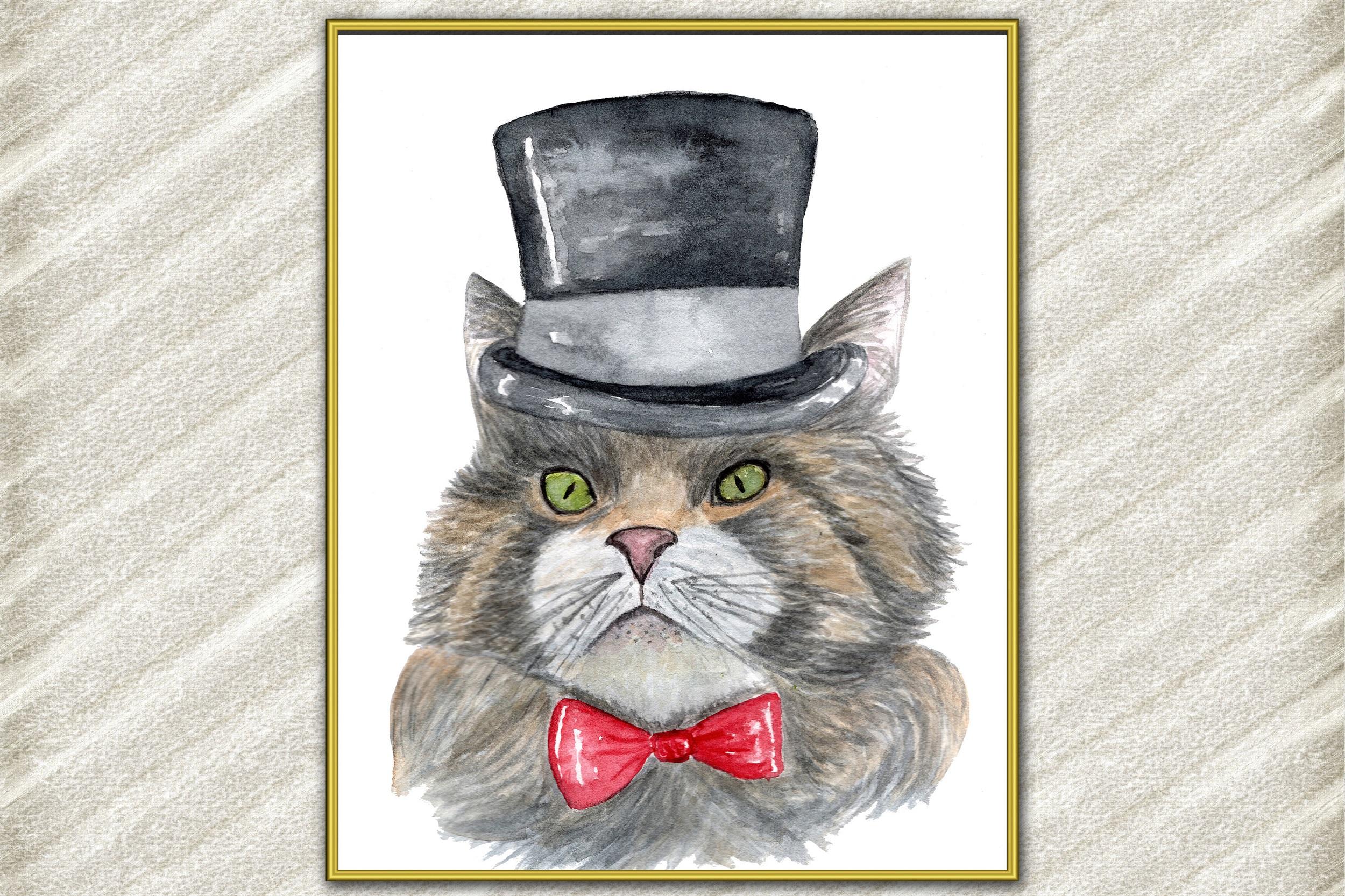 Cat Watercolor Print, Funny cat Poster, Cat Wall Art example image 1