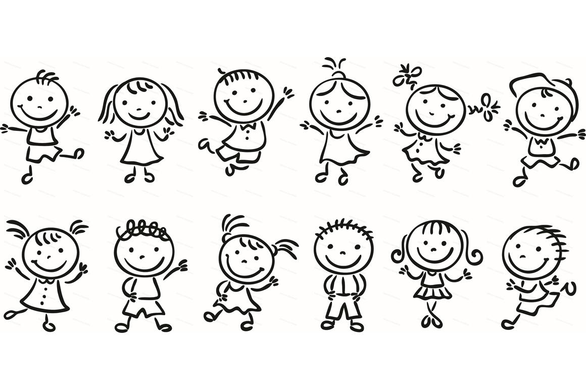 Happy Cartoon Kids Bundle, children doodle, kids doodle example image 28