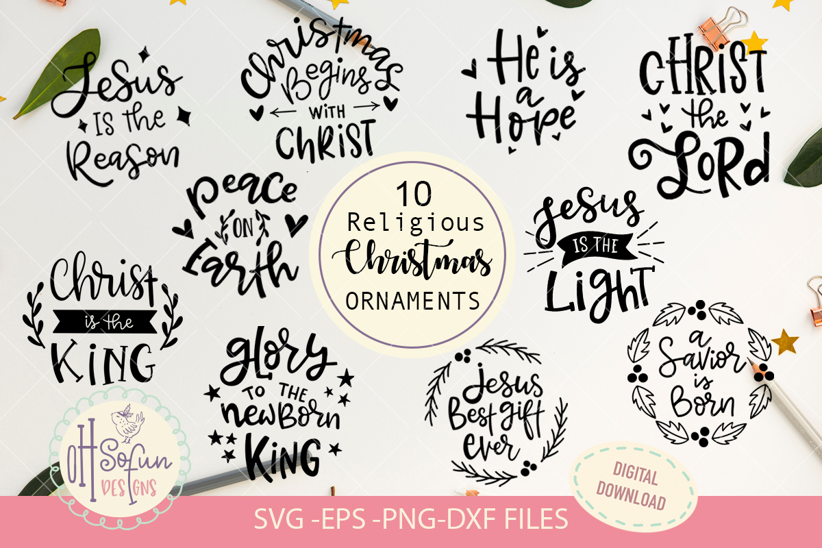 10 Religious Christmas ornaments, hand lettering Christmas example image 1
