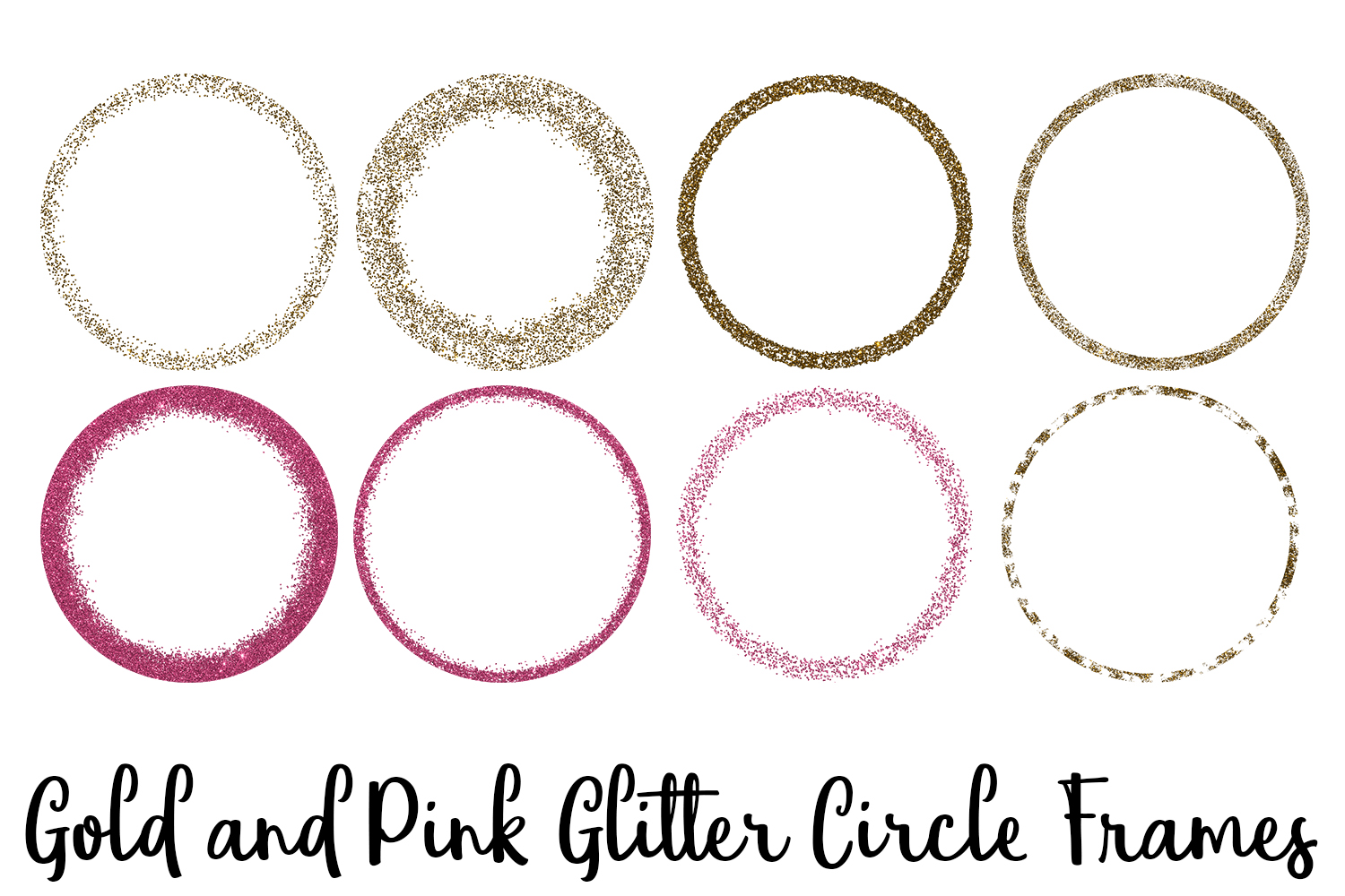 Gold and Pink Glitter Circle Frames Clip Art example image 1