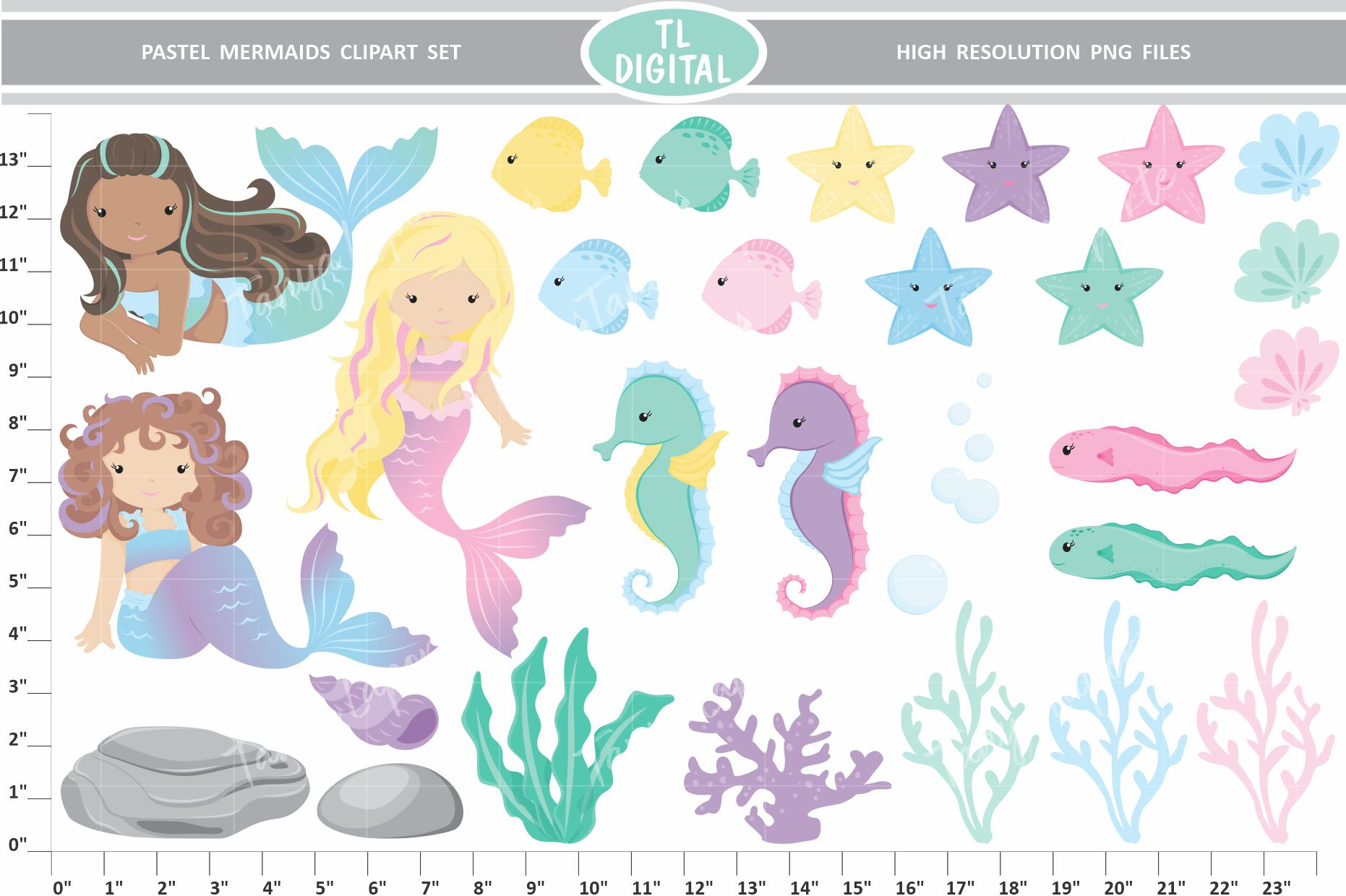 Pastel Mermaid Clipart Set 29 High Resolution PNG Graphics example image 2