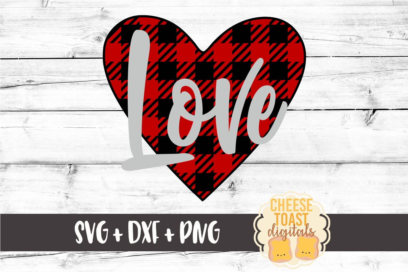 Buffalo Plaid Love - Heart - Valentine SVG PNG DXF Cut Files example image 2