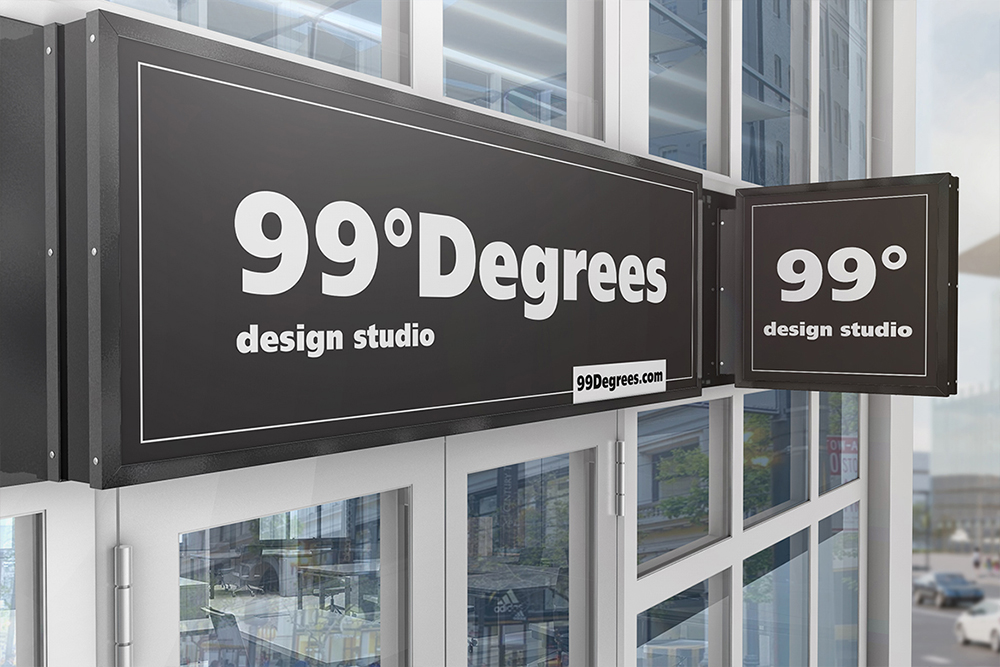 Building Advertising Square Sign Mockup example image 4