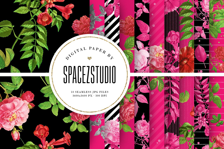 Black & Hot Pink Floral Tileable Digital Paper example image 1
