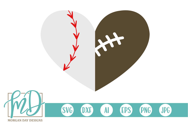 Baseball Football Heart SVG, DXF, AI, EPS, PNG, JPEG example image 1