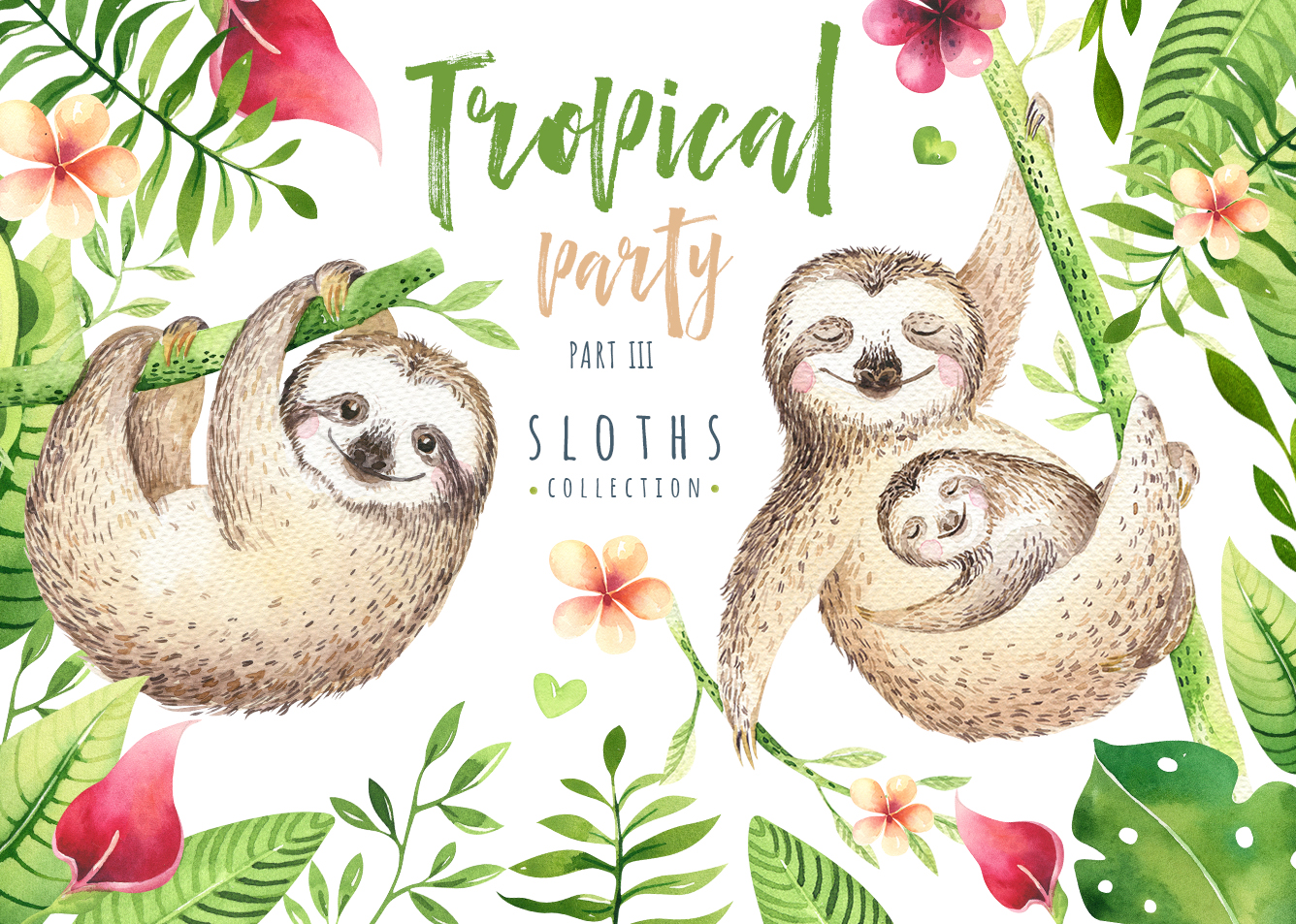 Tropical party III.Sloth collection example image 1