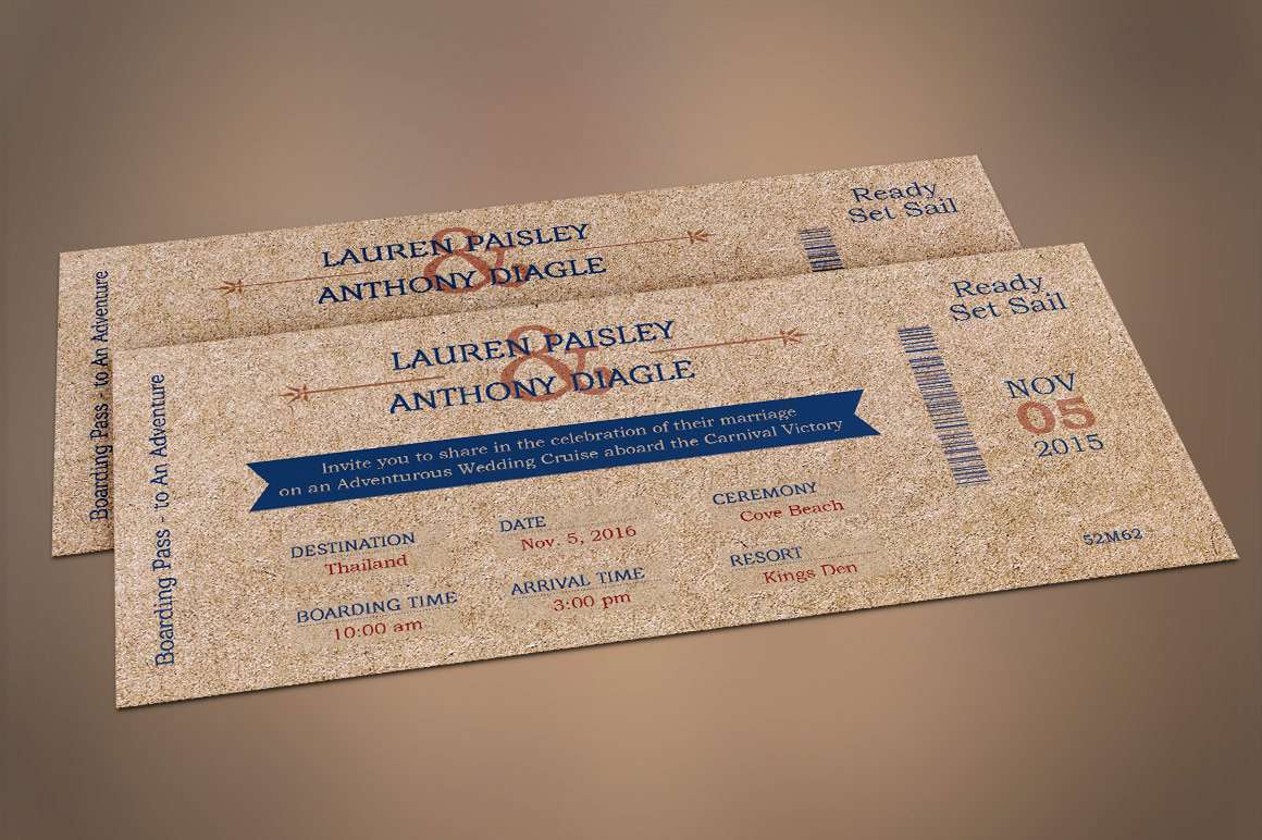 Cardboard Boarding Pass Invitation Template example image 6