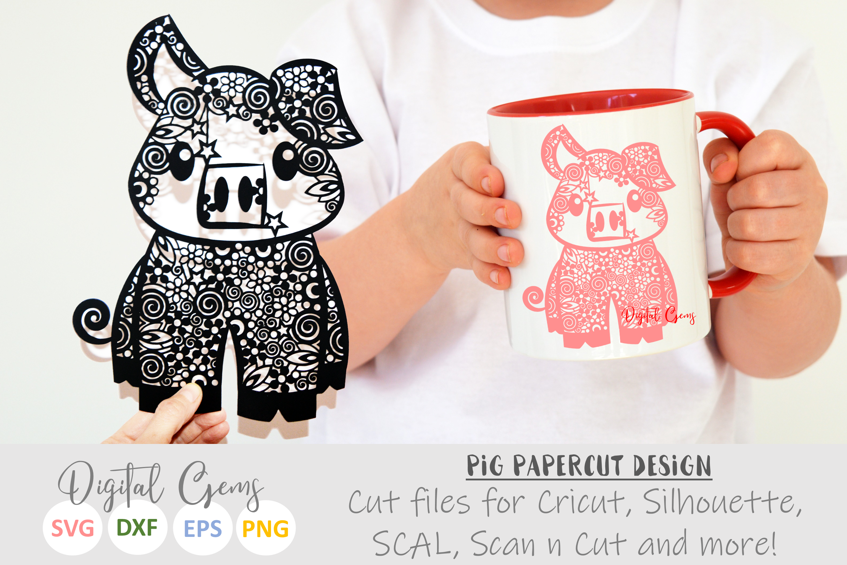 Pig paper cut SVG / DXF / EPS / PNG files example image 1