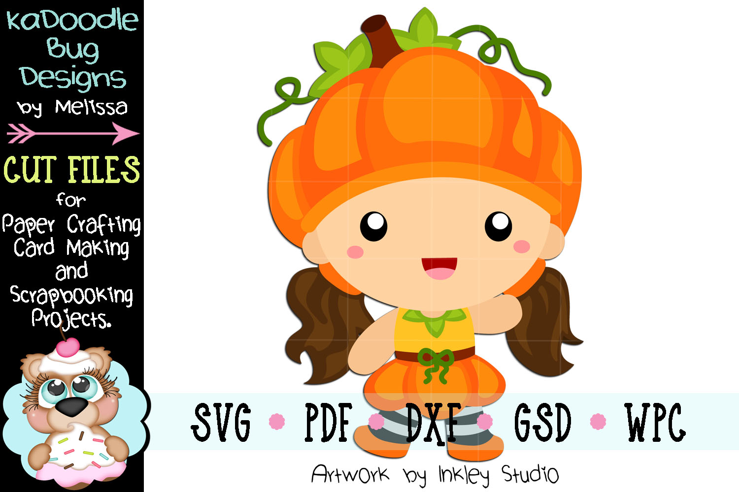 Pumpkin Girl Cutie Cut File - SVG PDF DXF GSD WPC example image 1
