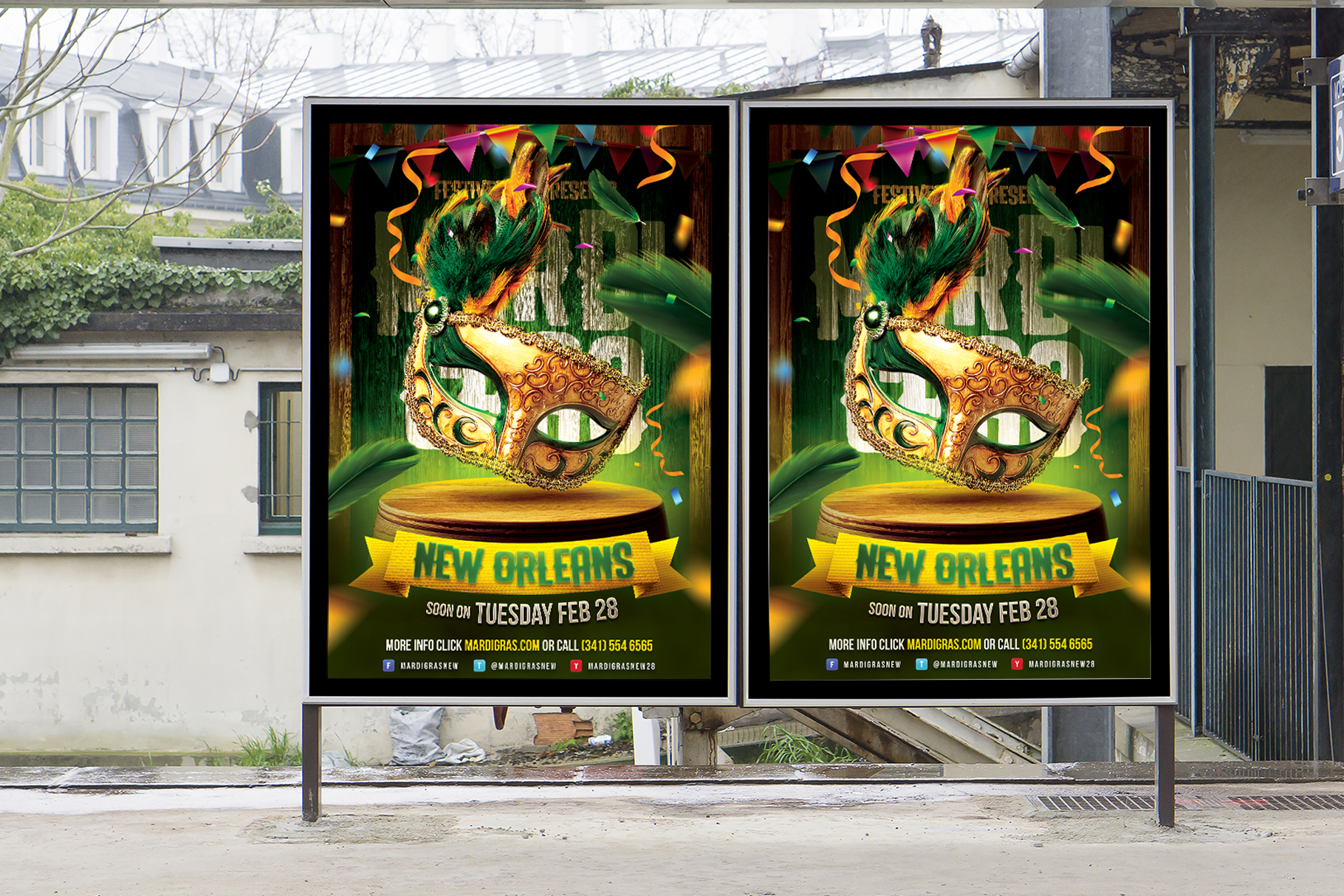 Mardi Gras Carnival Flyer example image 3