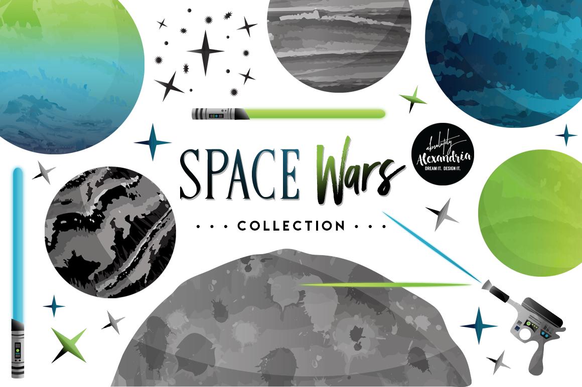 Space Wars Clipart Graphics & Digital Paper Patterns Bundle example image 1