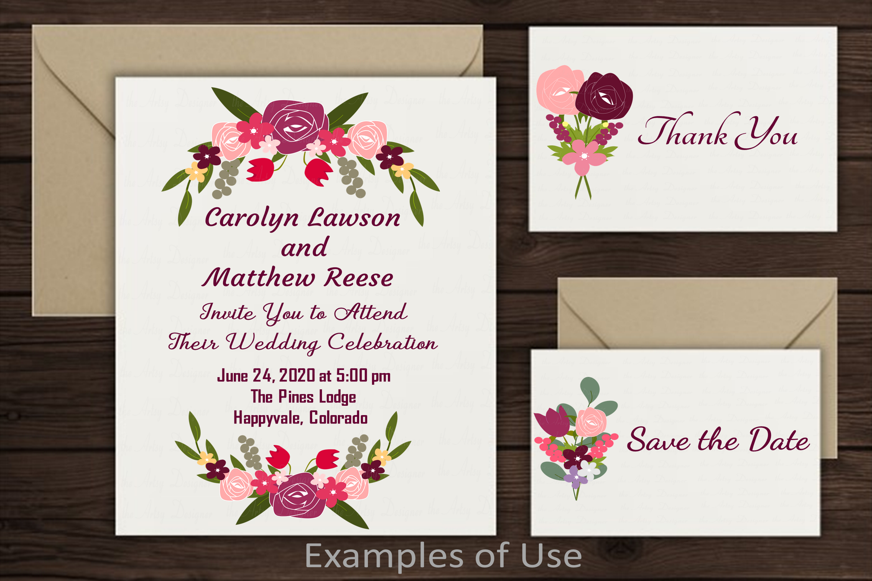 Burgundy Maroon Pink Floral Roses Sublimation Clipart Bundle example image 4