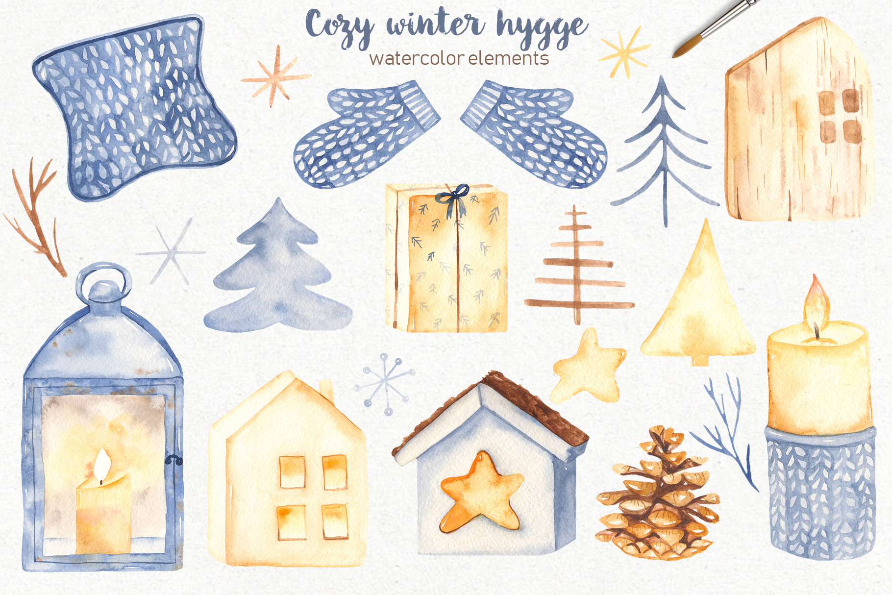 Hygge watercolor clipart Christmas cozy winter collection example image 2
