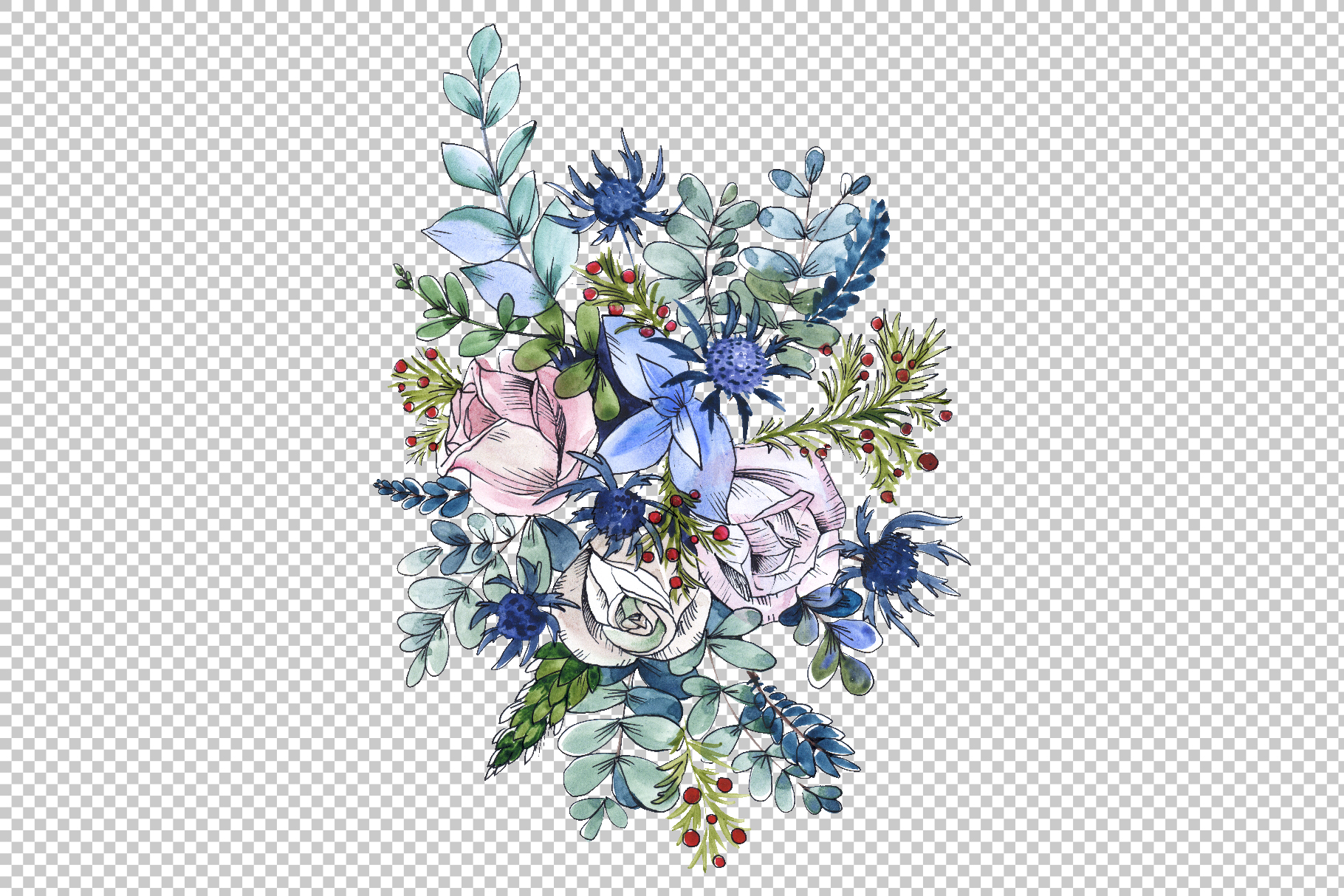 Bouquets with wildflowers, Roses, leaves Watercolor png example image 5