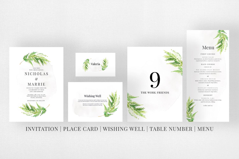 Watercolor Leaf Wedding Suite example image 5
