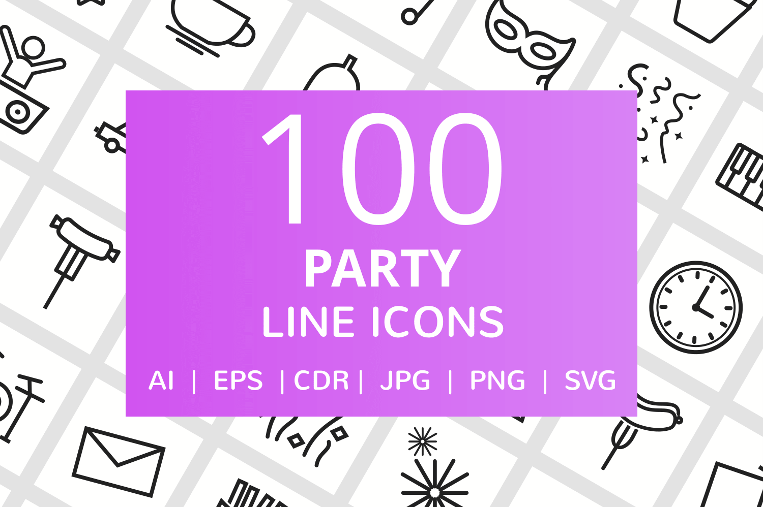100 Party Line Icons example image 1