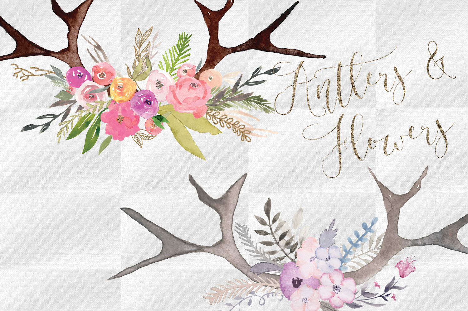 Hand painted Antler Clipart Set example image 3