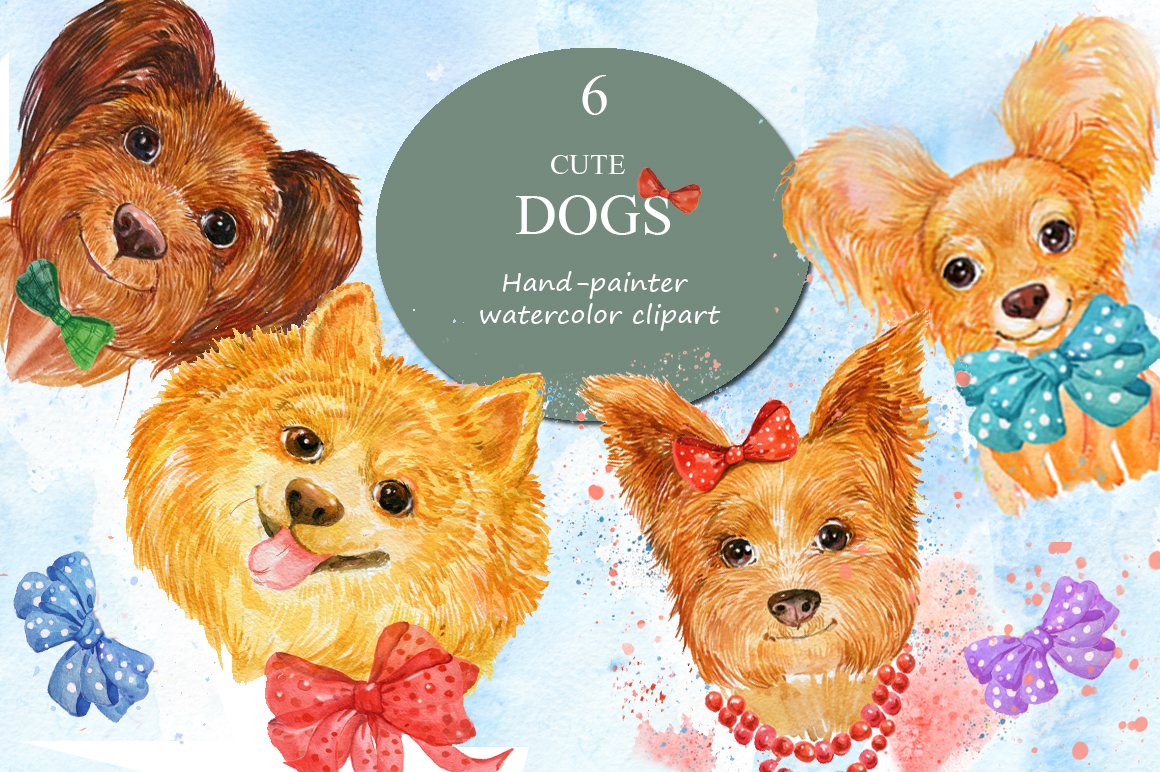 watercolor , cute dogs example image 1
