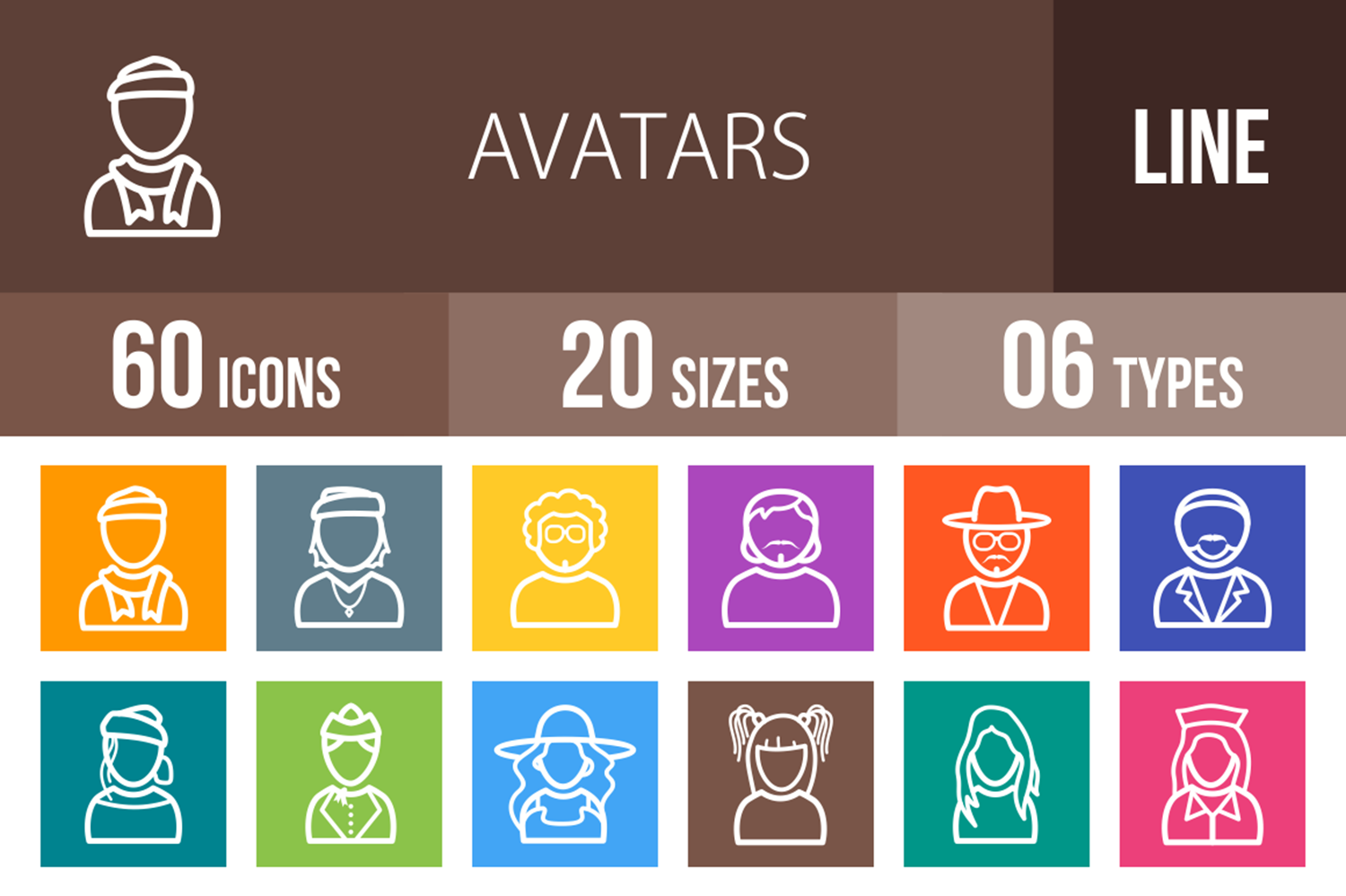 60 Avatars Line Multicolor B/G Icons example image 1
