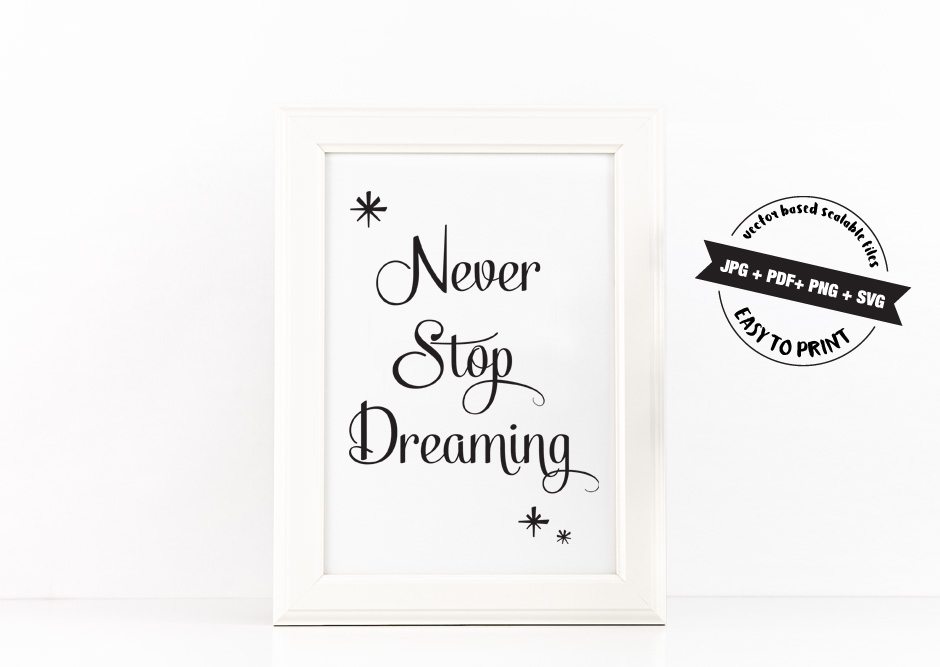Never Stop Dreaming Poster Inspirational Quote to Print in Black + SVG files example image 2
